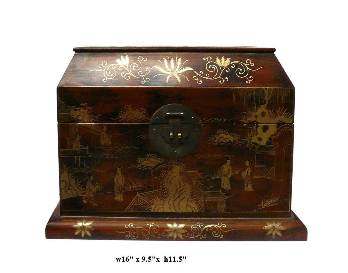 Chinese Light Brown Lacquer Golden Scenery Chest Chairish