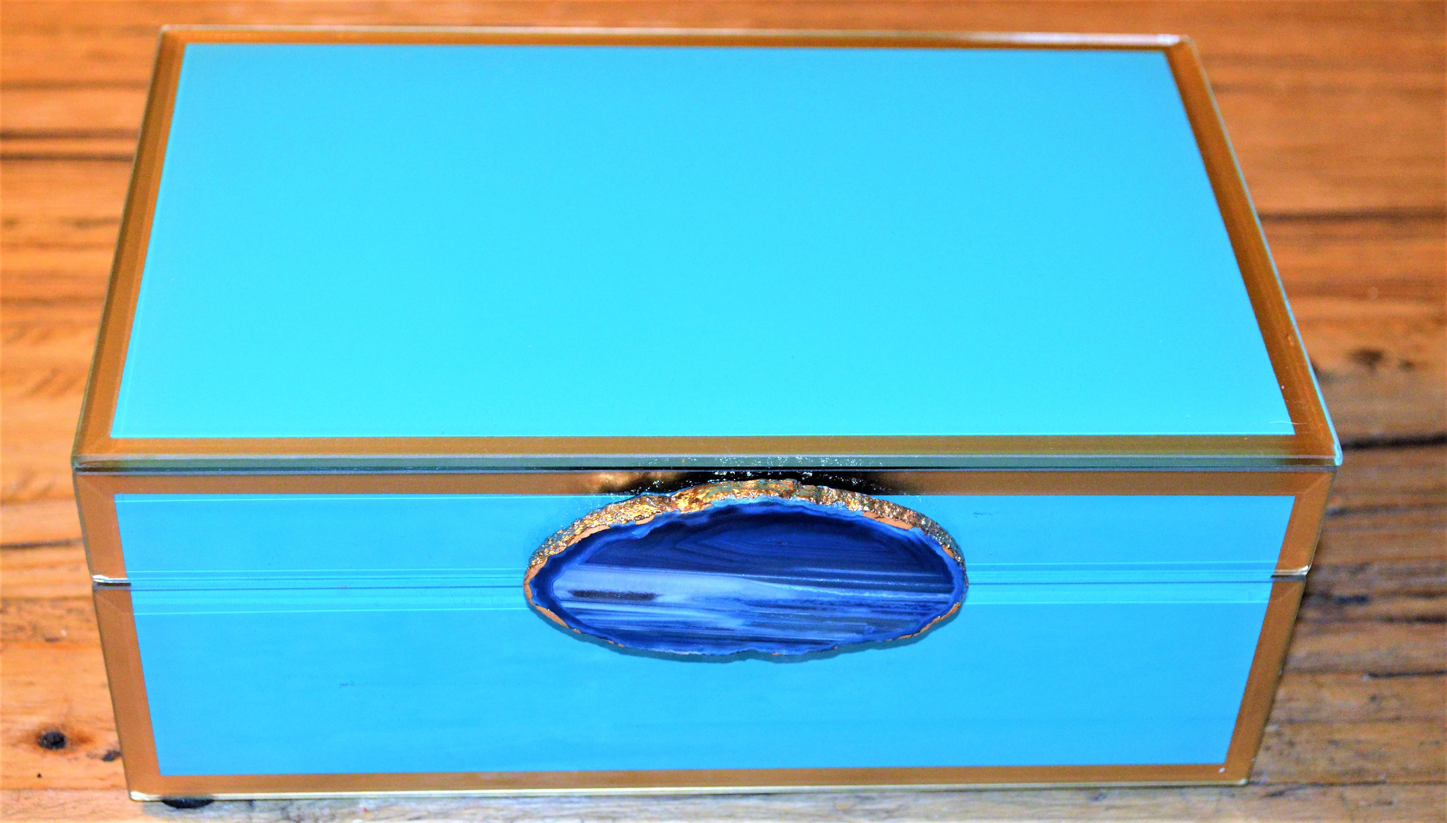 Turquoise Cobalt Geode Trinket Box Chairish
