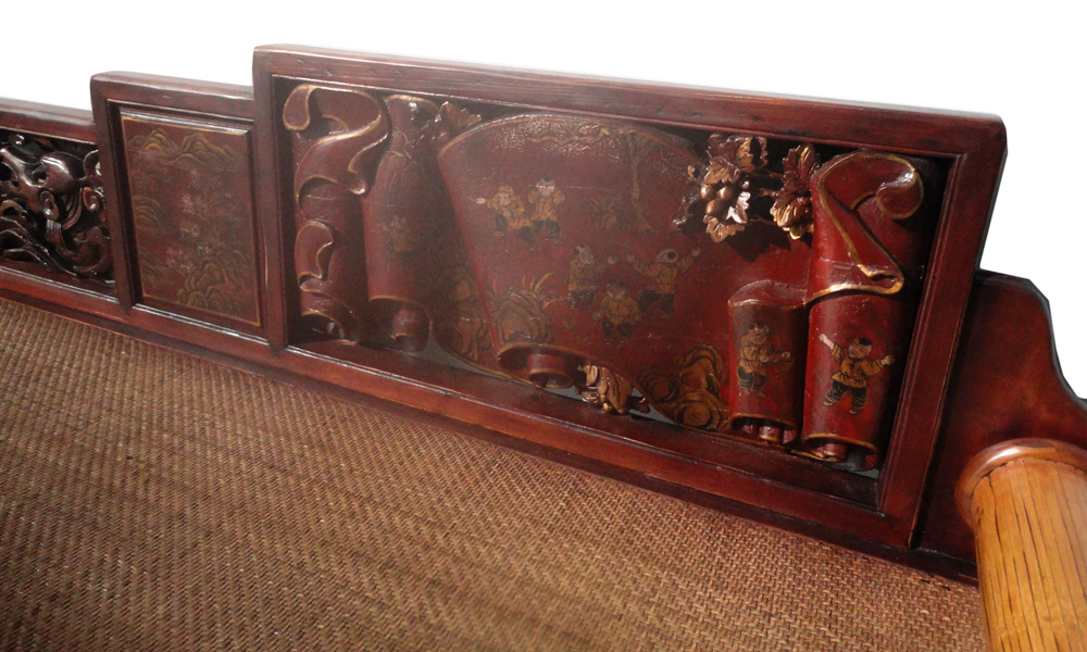 Vintage Fujian Scenery Carved Daybed Chaise Chairish