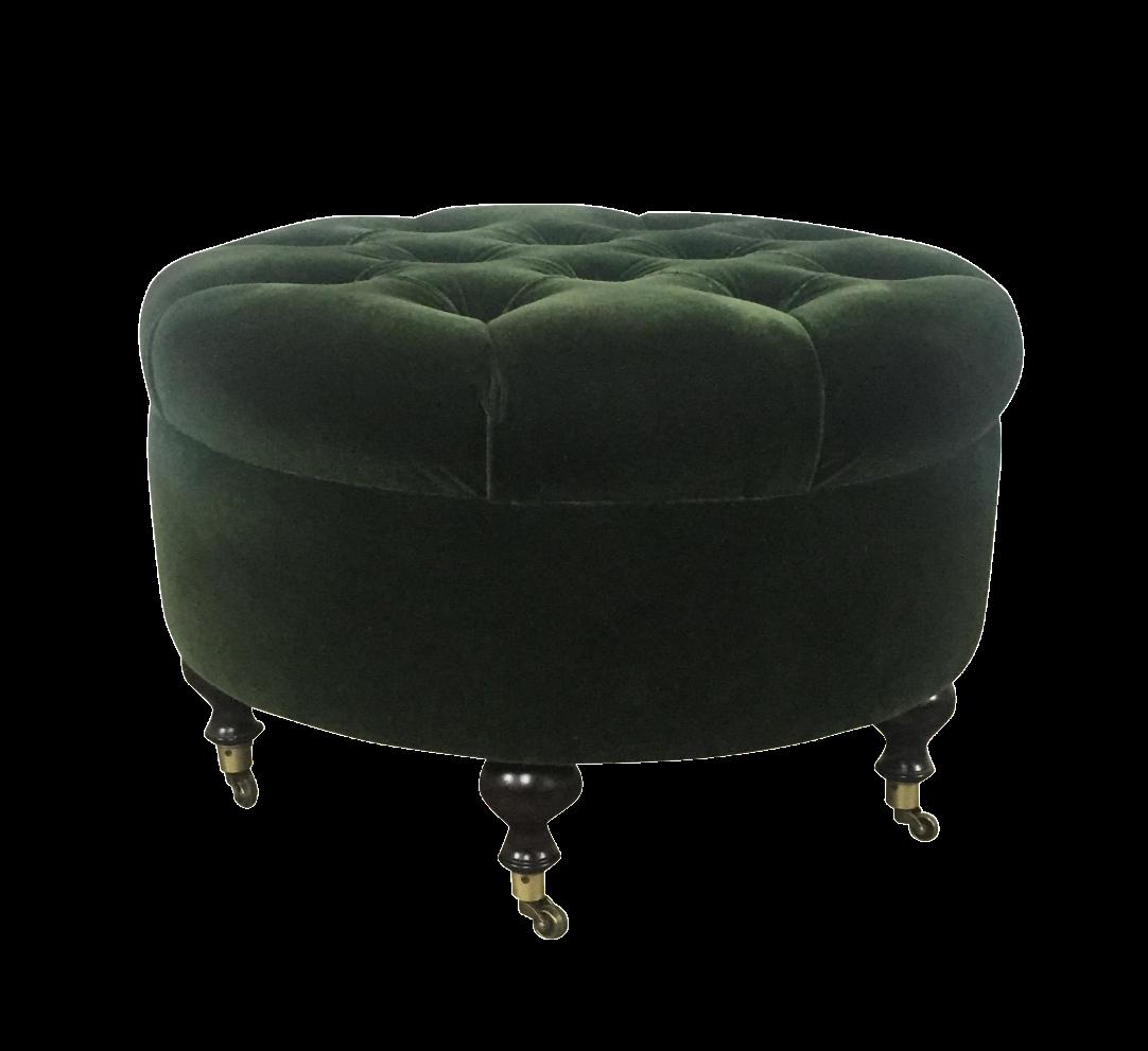 Green Velvet Tufted Ottoman Chairish