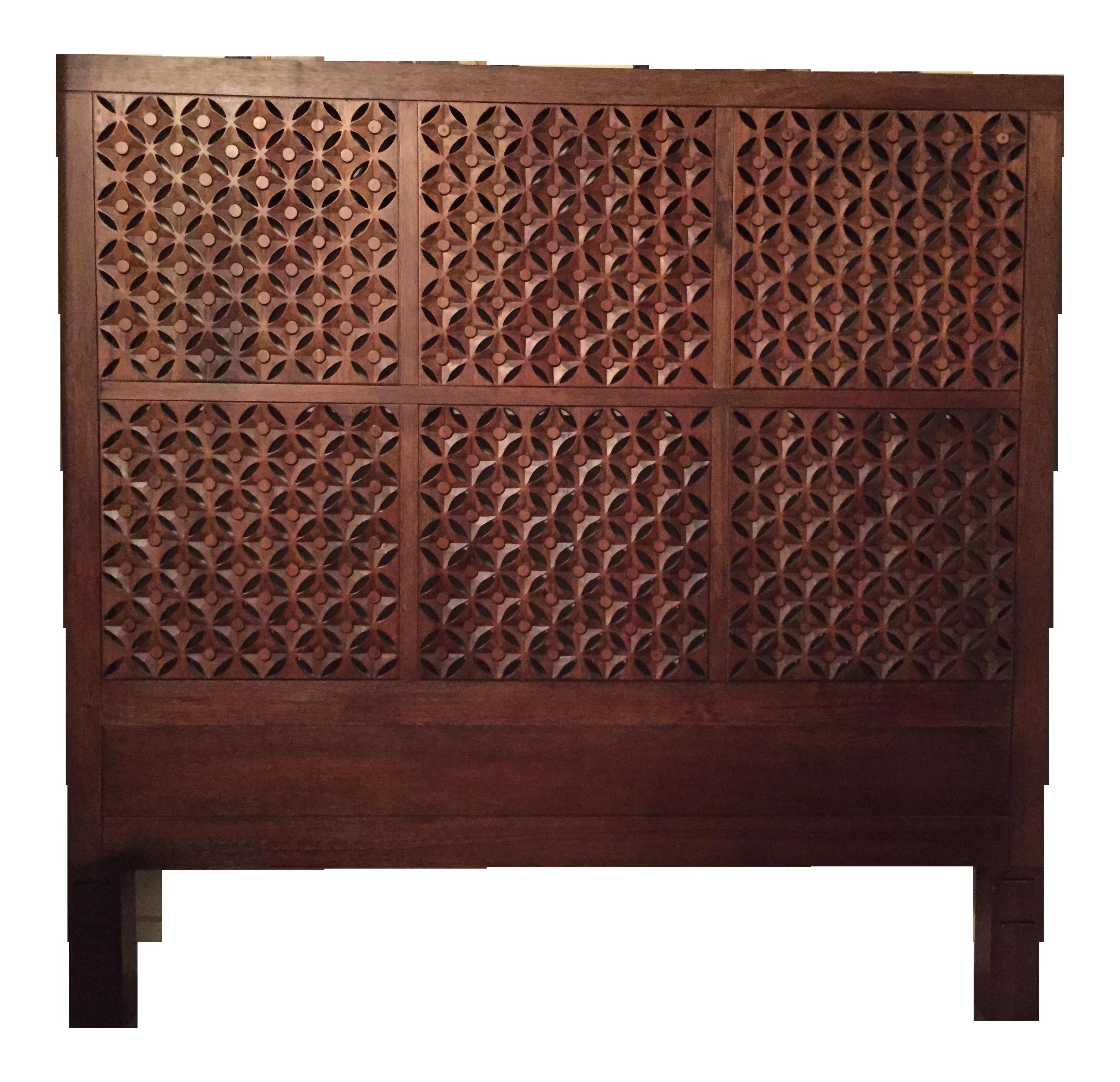West Elm Carved Headboard Chairish