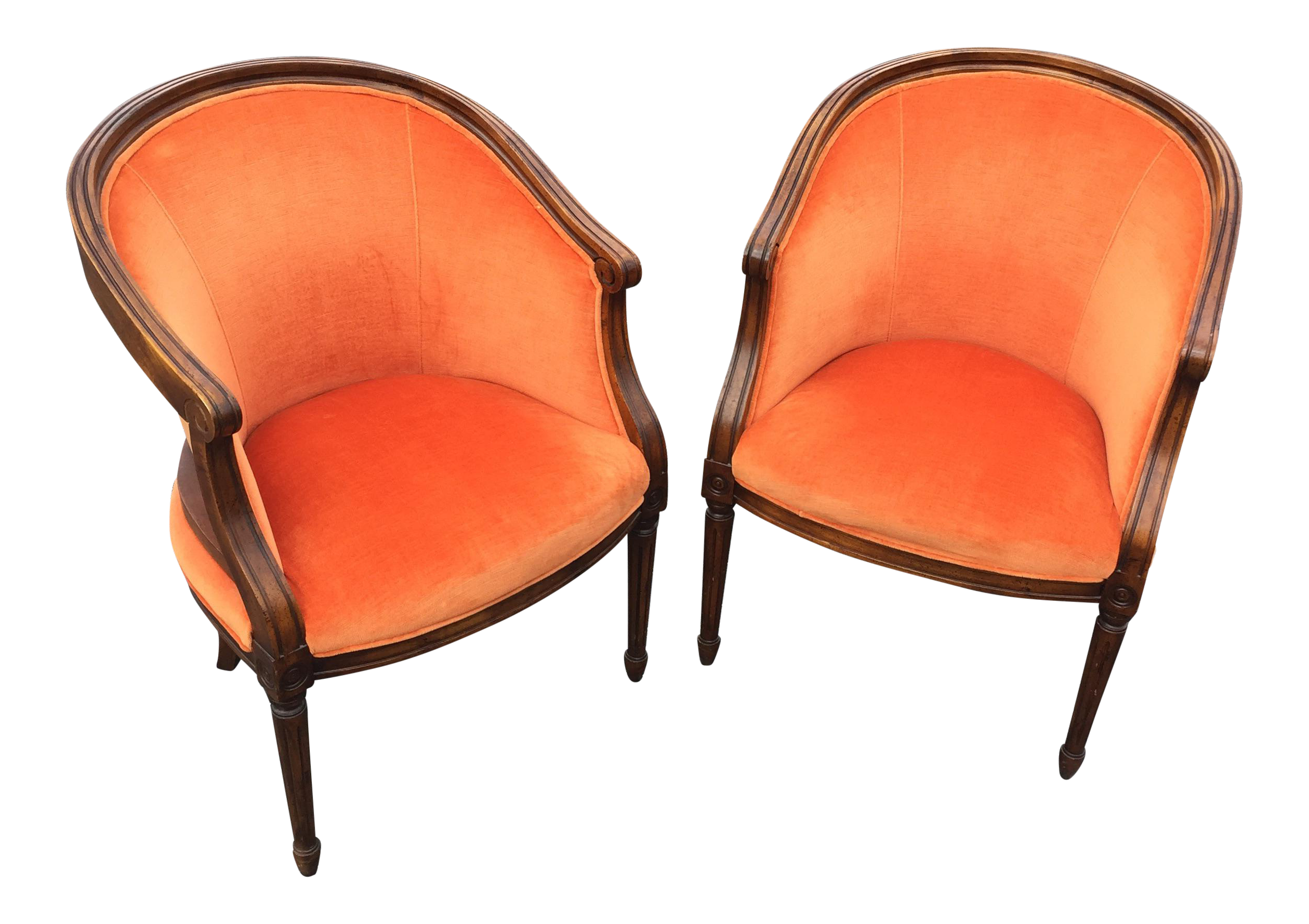 Vintage Velvet Orange French Style Barrel Chairs A Pair