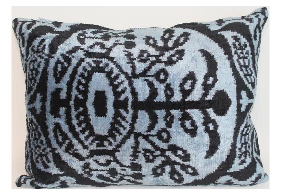 Mineral Blue Silk Velvet Ikat Pillow Chairish