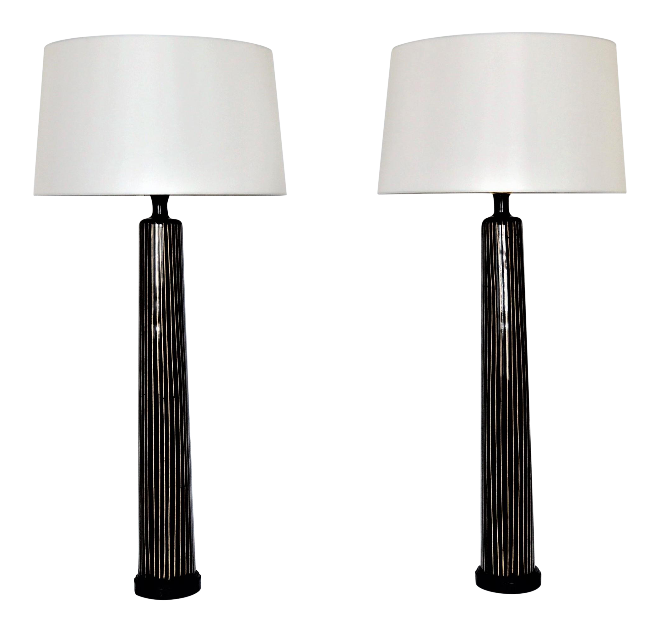 Large & Tall Allison K. West for Thumbprints Contemporary Bamboo & Black Table  Lamps Mid-Century Modern Oggetti Augousti Style MCM - a Pair Millennial |  ...