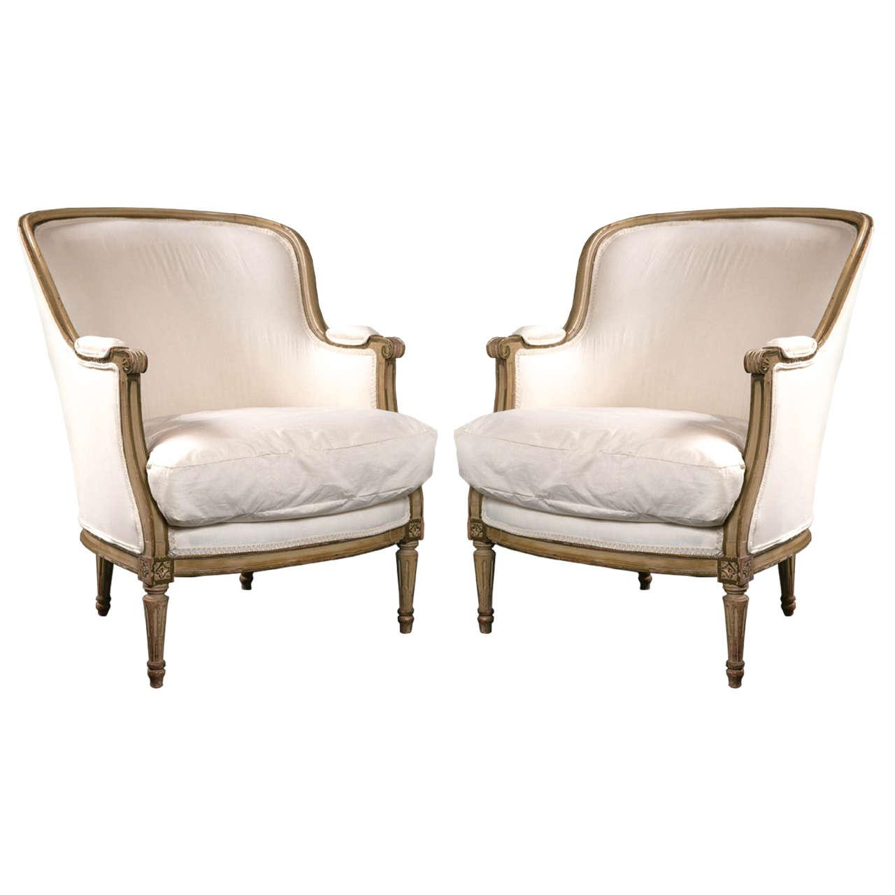 Maison jansen louis xvi bergere chairs a pair chairish for Table bergere