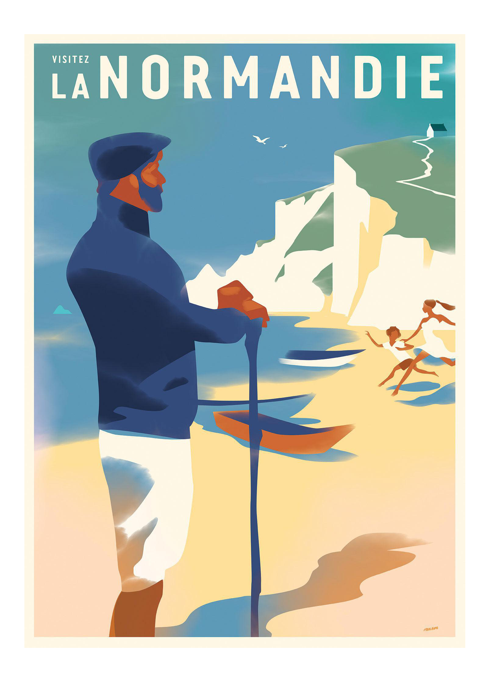 Danish Modern Travel Poster Visitez Normandie Chairish