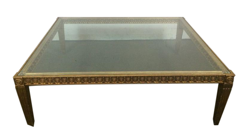 Contemporary French Rococo Style Carved And Painted Giltwood Glass Top Coffee Table Chairish