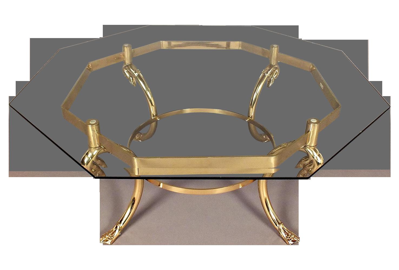 octagon brass coffee table | chairish