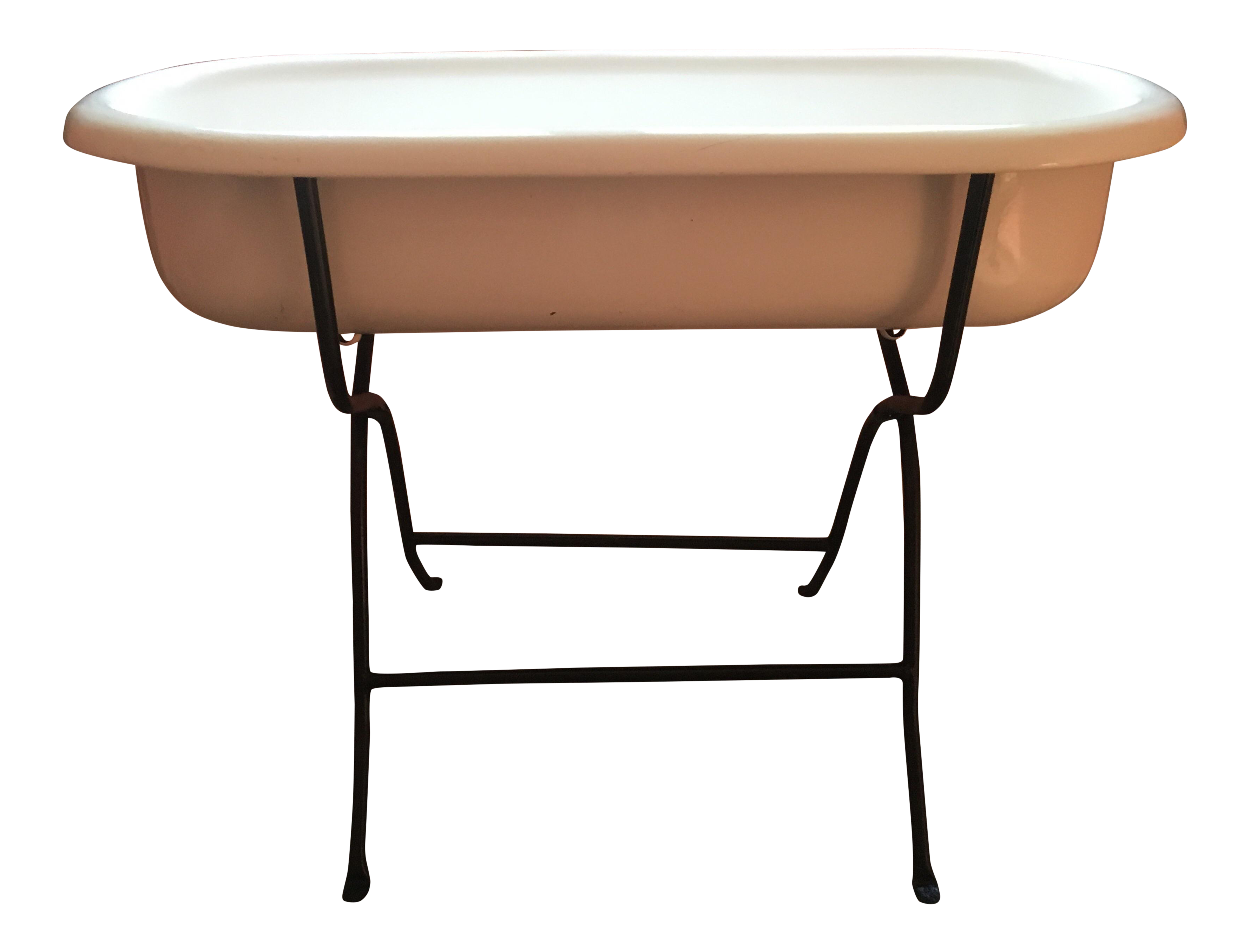 vintage hungarian baby tub on stand chairish. Black Bedroom Furniture Sets. Home Design Ideas