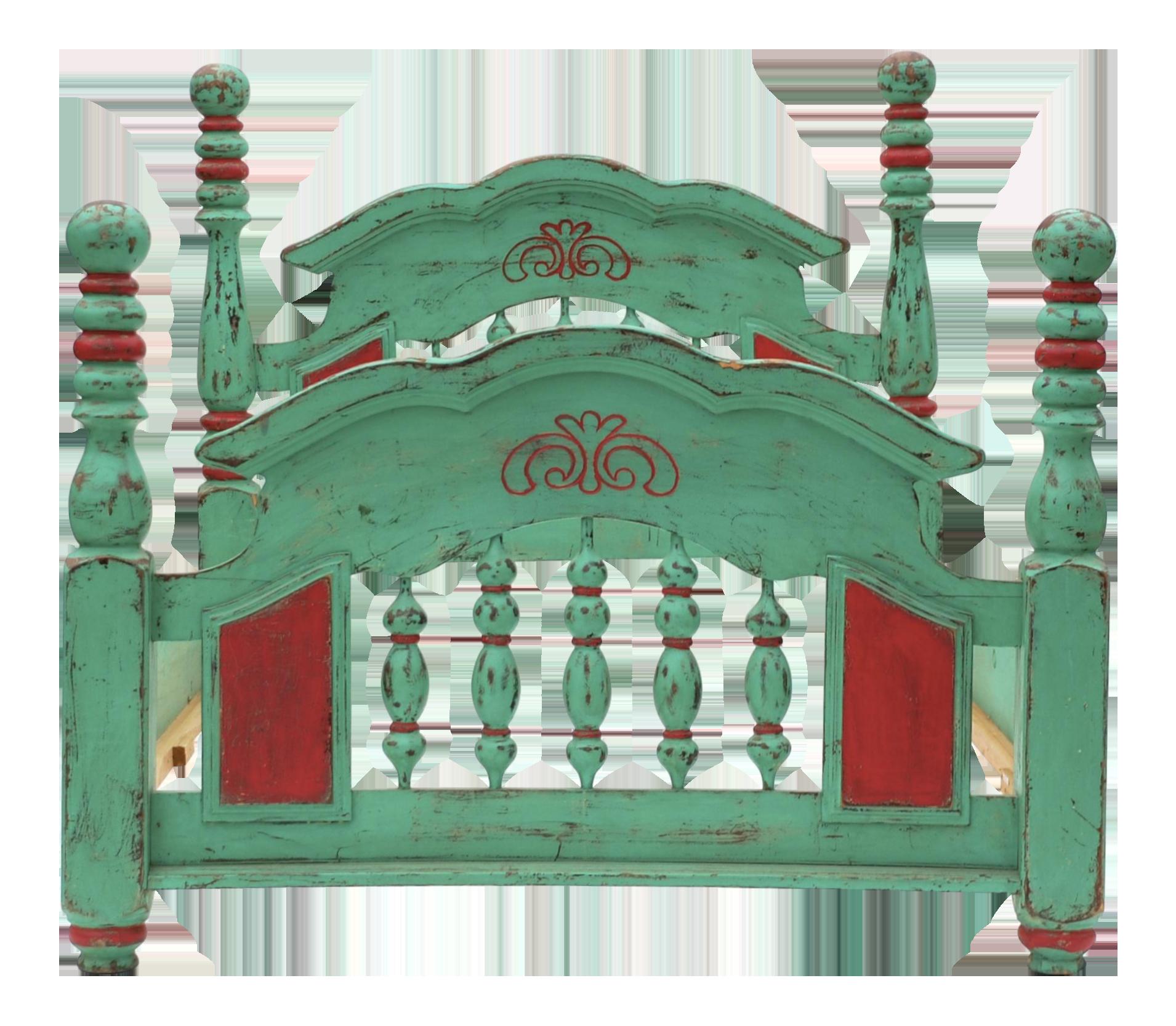 Vintage Mexican Hacienda Green Amp Red Bedframe Chairish