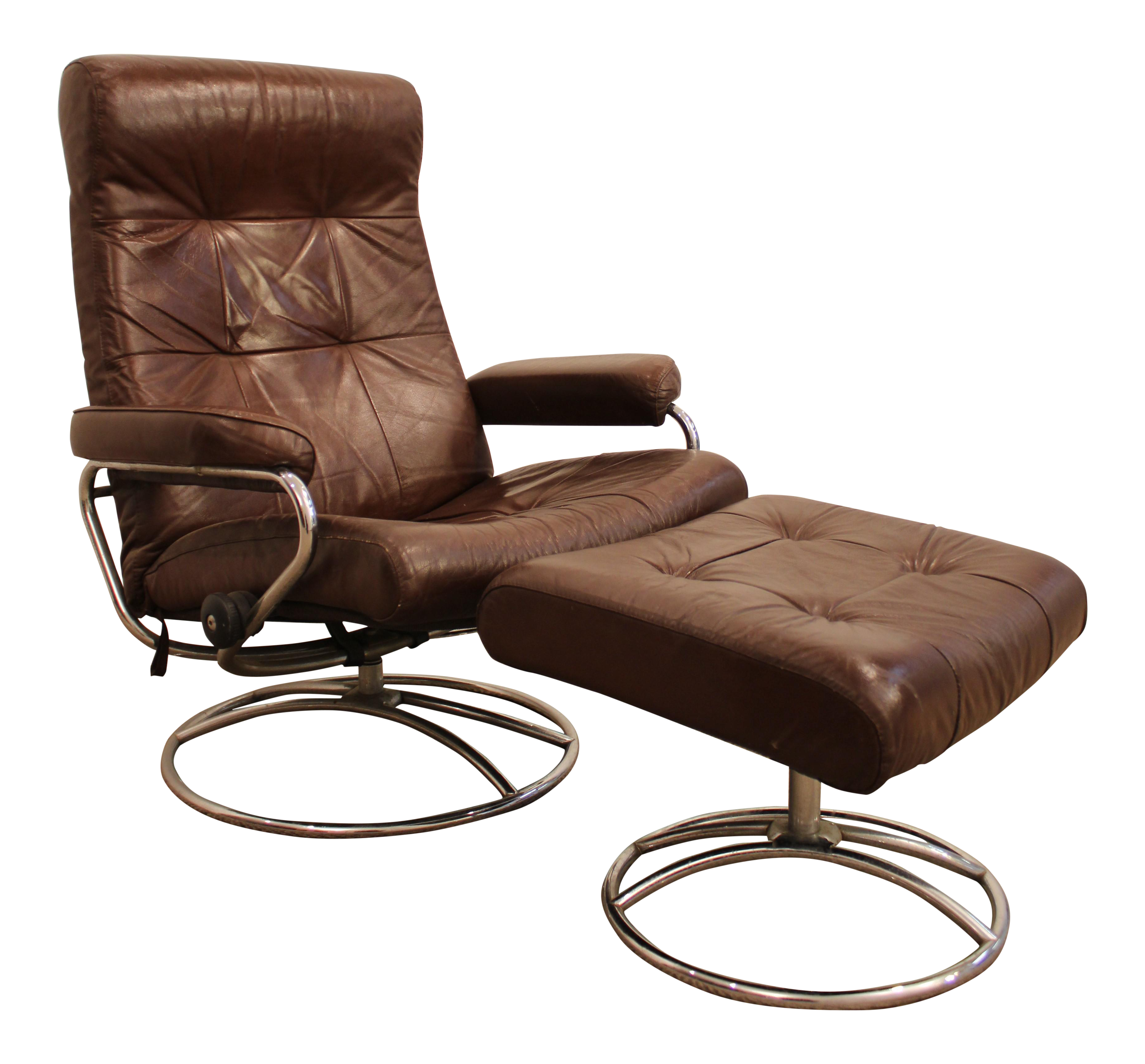 Ekornes Stressless Mid Century Danish Modern Leather Chrome