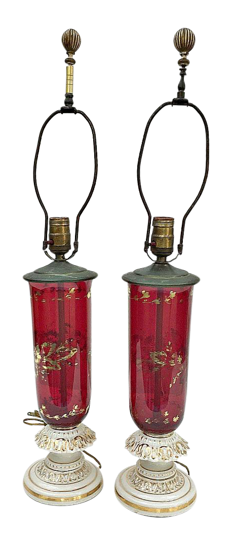 Viintage Ruby Red Amp Gold Leaf Porcelain Table Lamps Pair