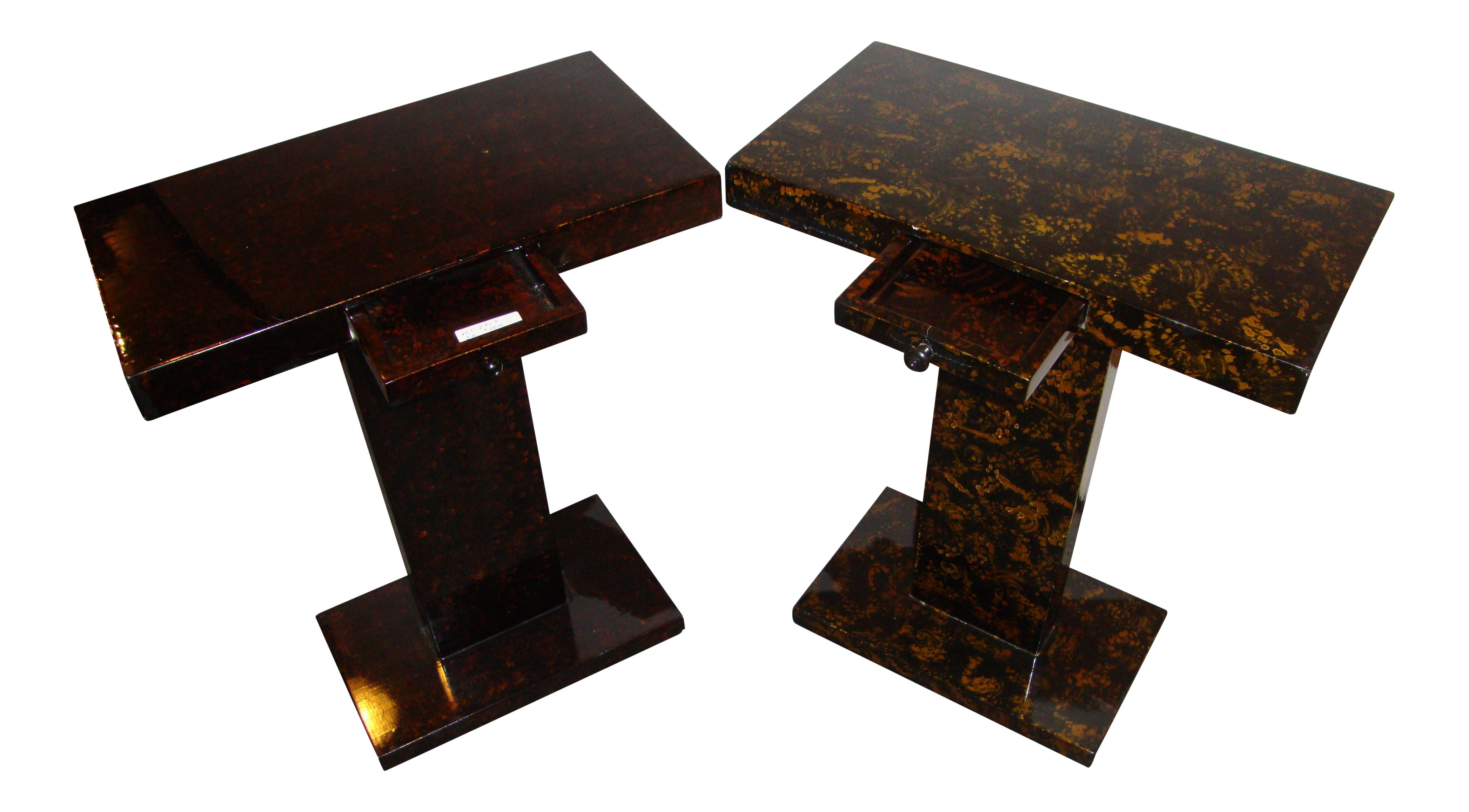 Jonathan Charles Tortoise Shell End Tables A Pair Chairish