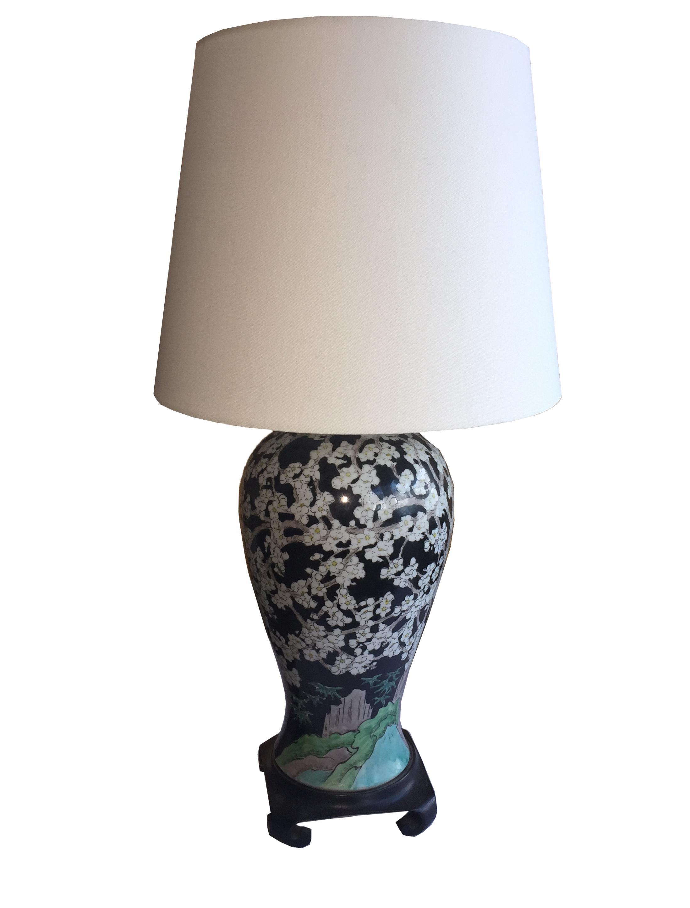 chinese famille noir vase lamp chairish. Black Bedroom Furniture Sets. Home Design Ideas