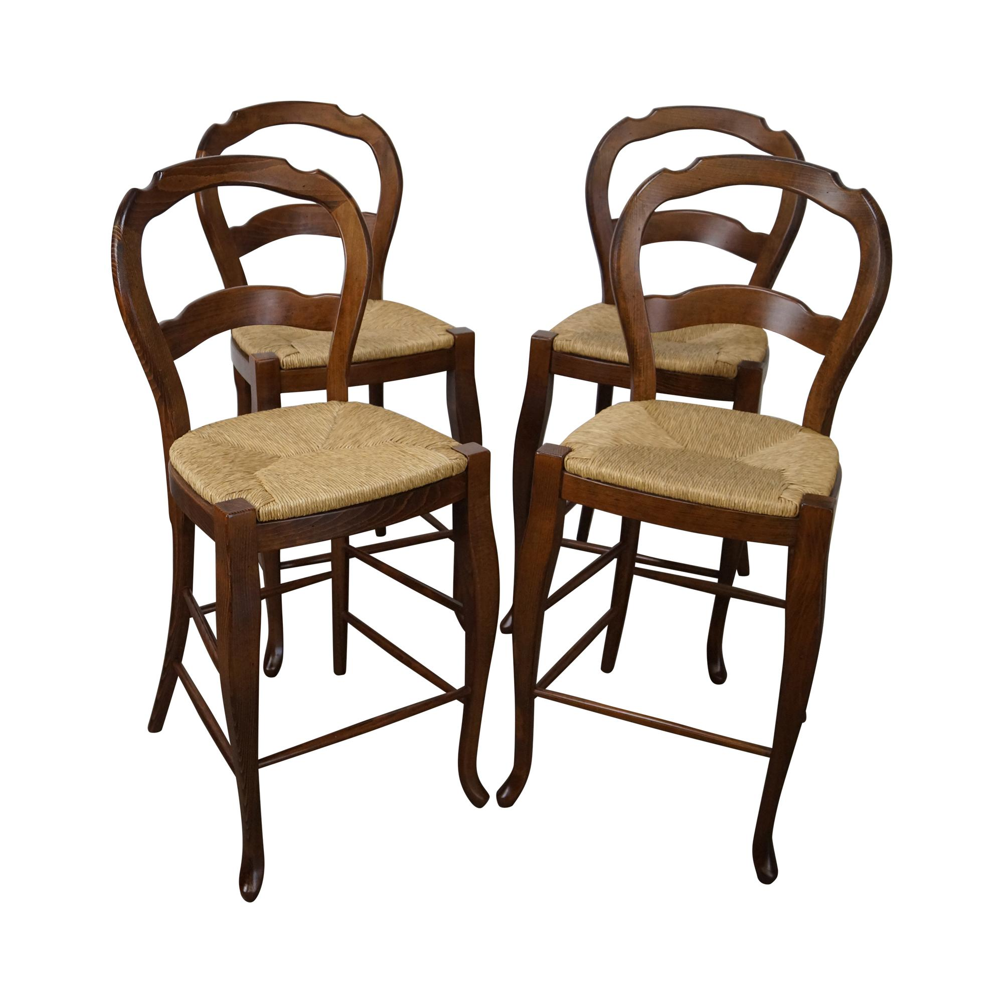 French Country Rush Seat Counter Stools Set Of 4 Chairish