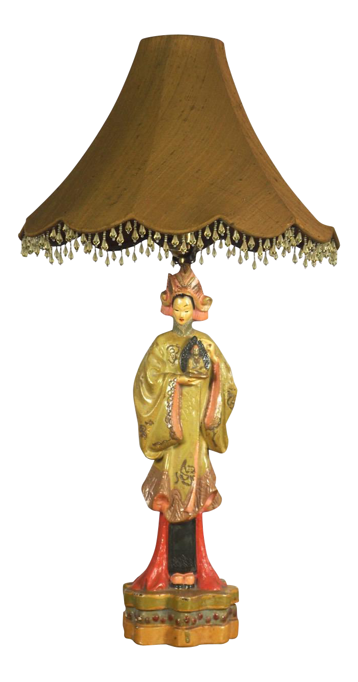 Vintage Asian Lady Figural Table Lamp Circa 1940s Chairish