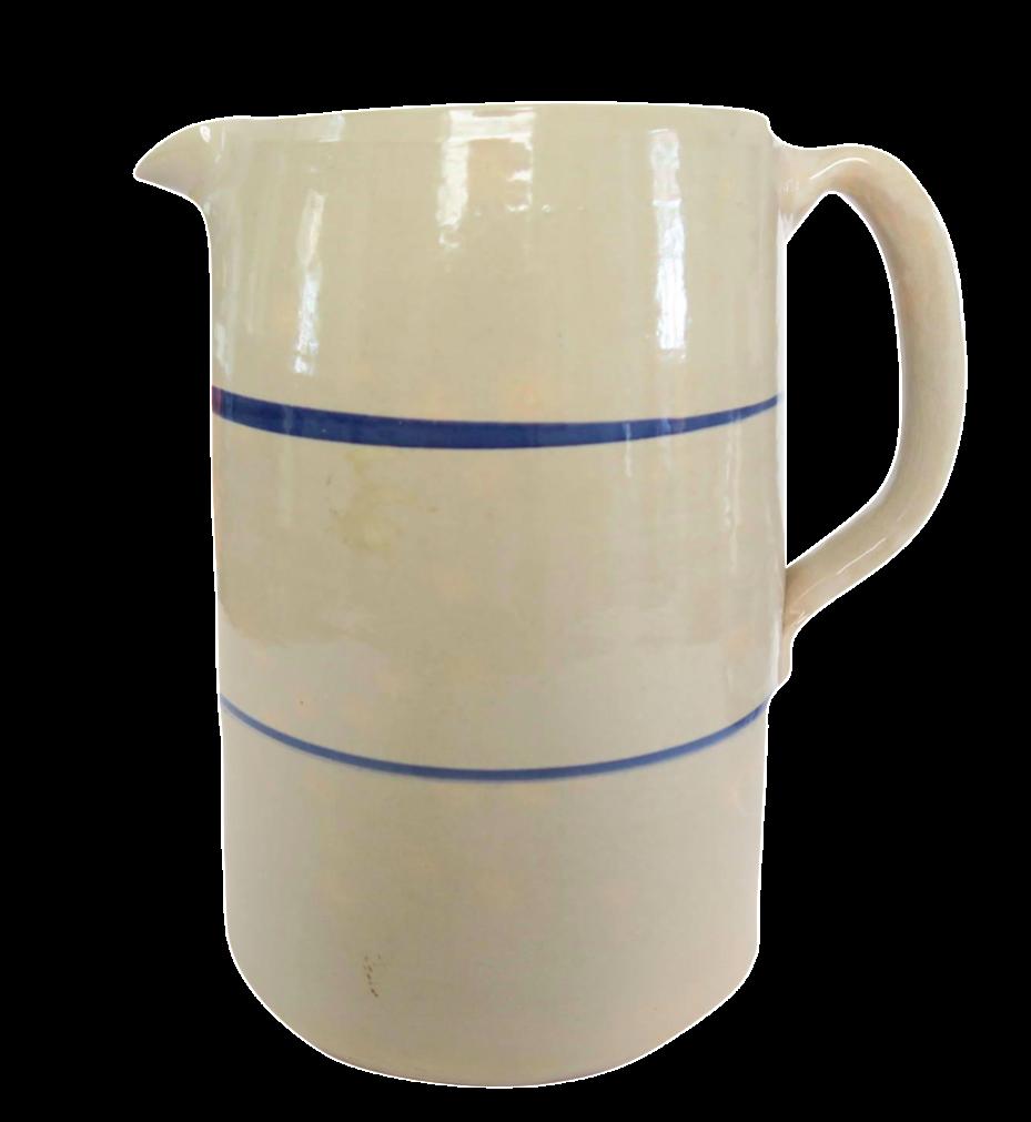 Vintage Blue White Striped Stoneware Pottery Crock Pitcher