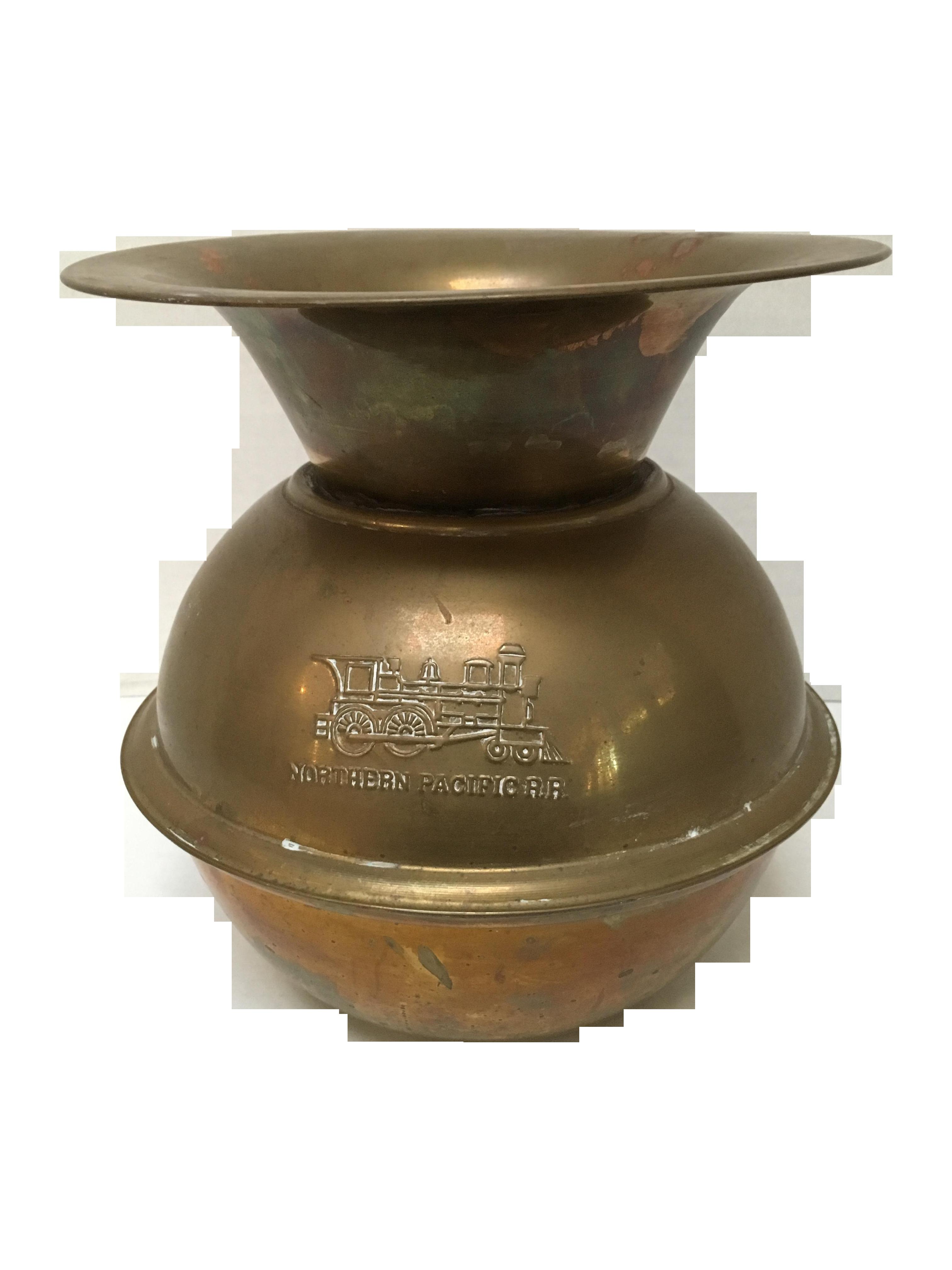 Vintage Brass Northern Pacific R R Spittoon Chairish