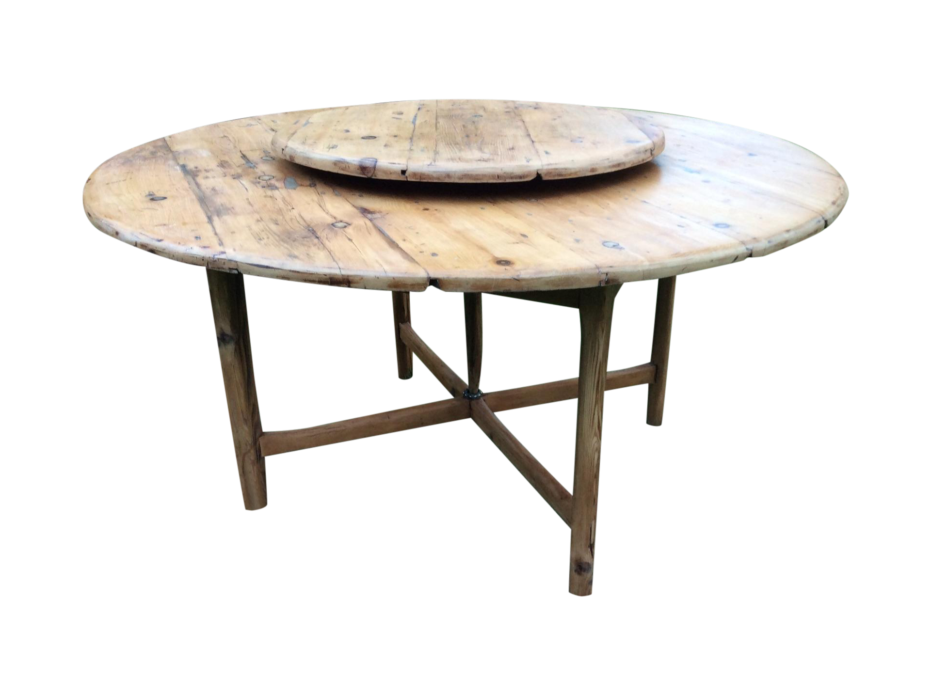 antique round farmhouse table with lazy susan chairish farmh