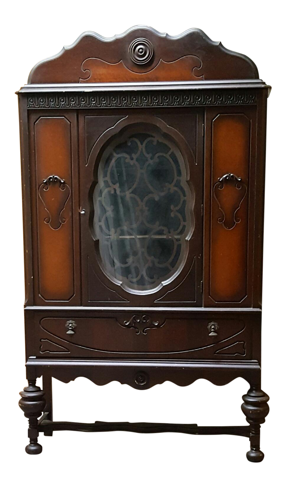 Antique art deco waterfall armoire vintage