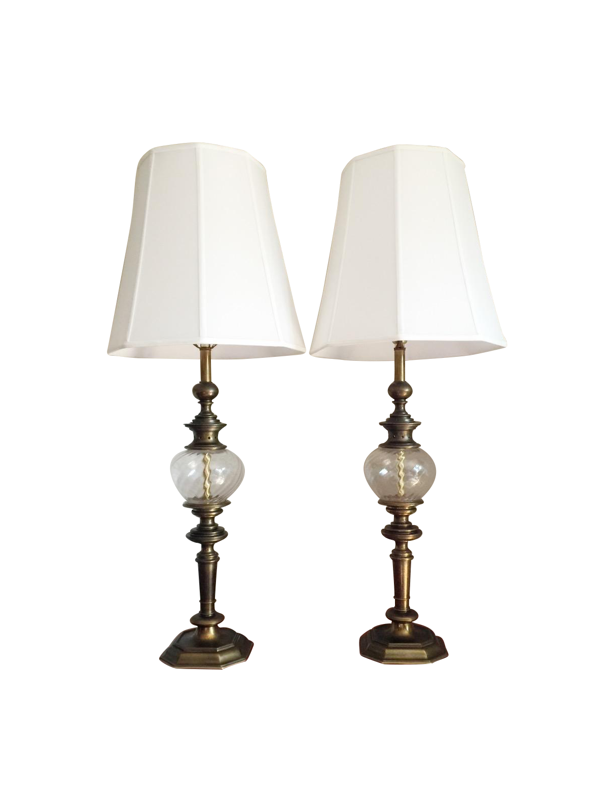 2 STIFFEL Table LAMPS 36 In. Tall Prime Quality Brass Hollywood Regency  Vintage 1960 Era . Price Is For