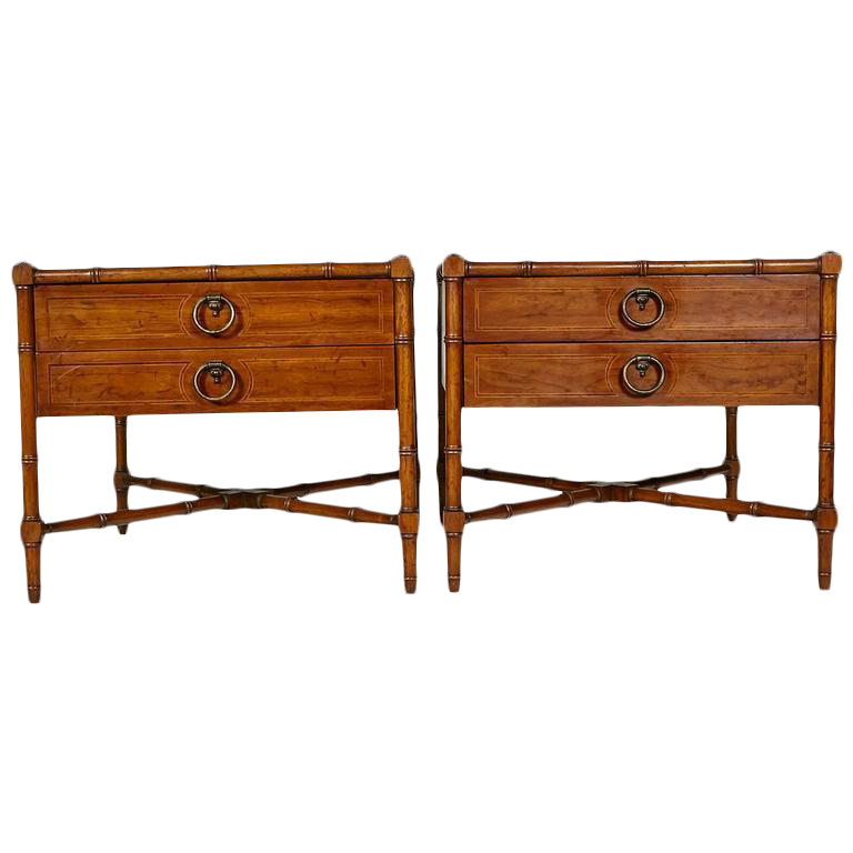 Drexel Heritage Faux Bamboo Side Tables A Pair Chairish