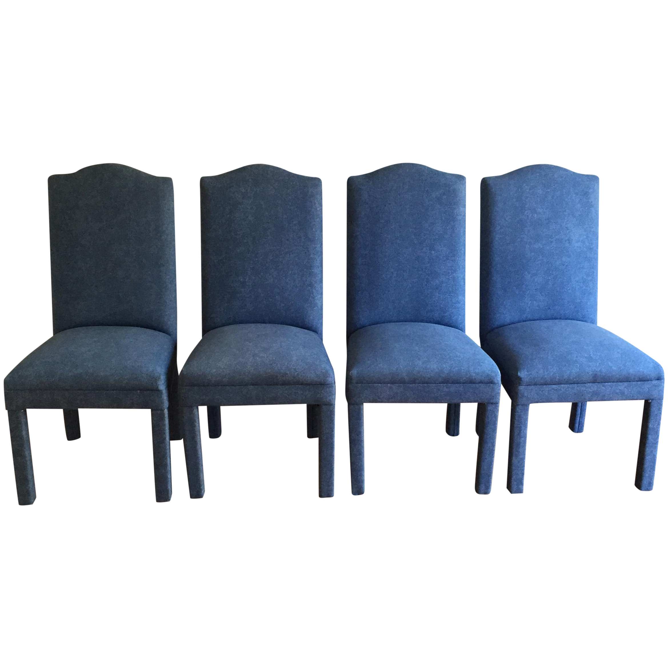 Denim style upholstered parsons chairs set of 4 chairish for What is a parsons chair style