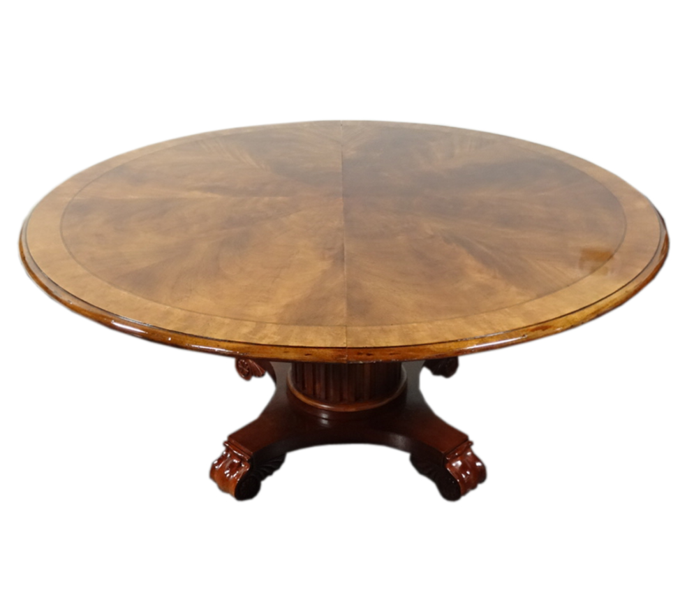 Henredon Natchez Flame Mahogany Round Dining Table Chairish : 05a54f09 54fb 4822 86de 476453aac988 from www.chairish.com size 994 x 849 png 391kB
