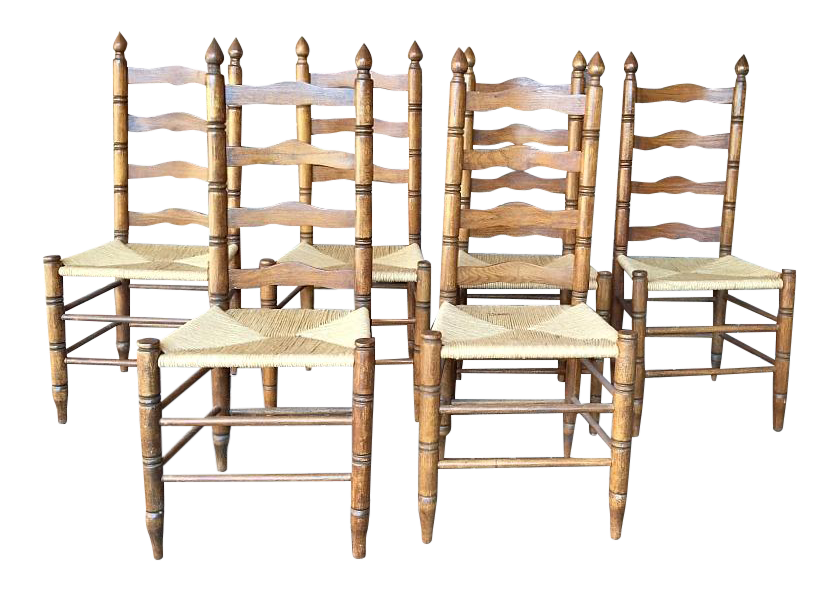 Ladderback Dining Chairs With Rush Seats S 6 Chairish