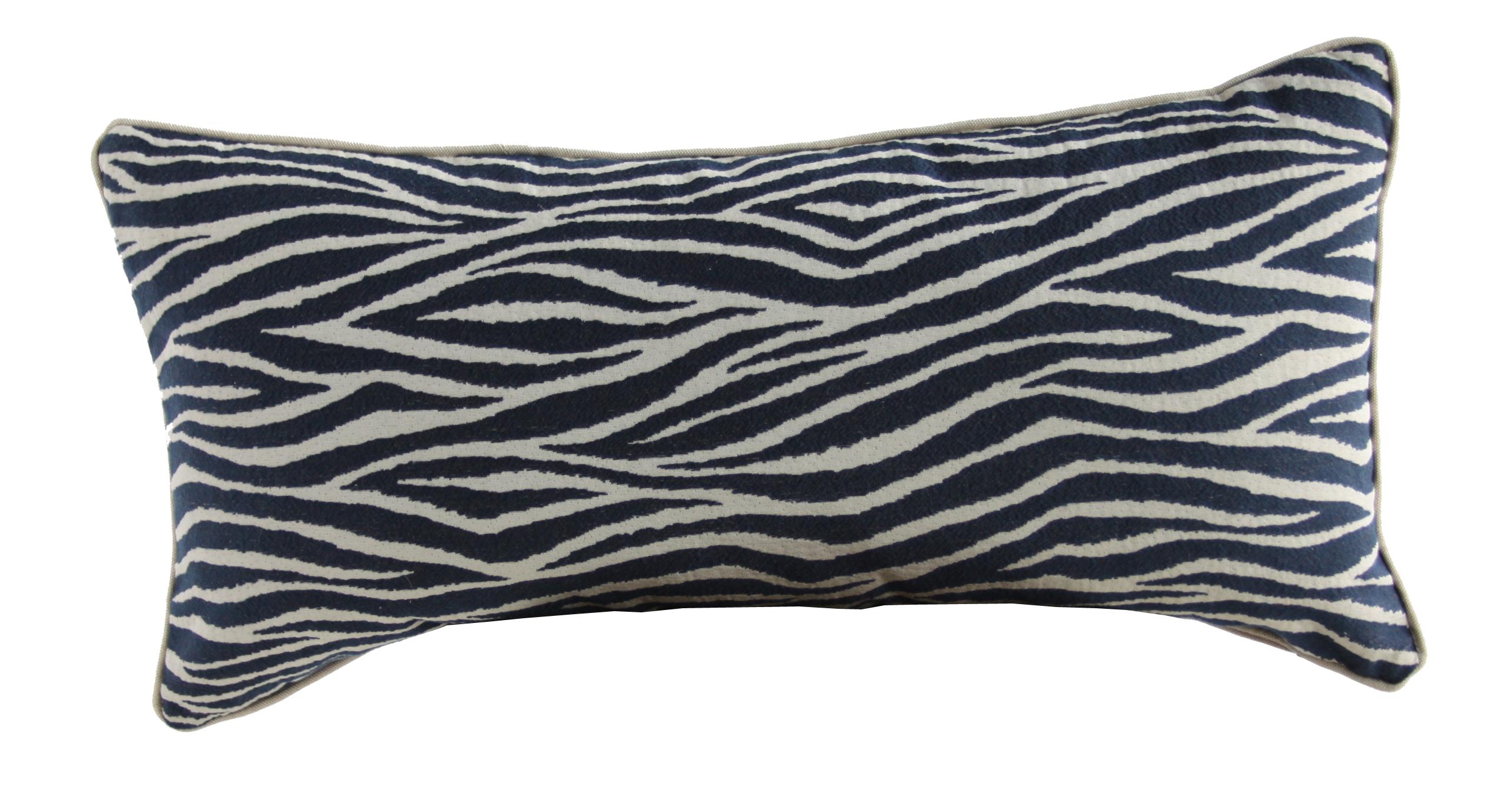 Animal Print Lumbar Pillows : Navy Zebra Print Lumbar Pillow Chairish