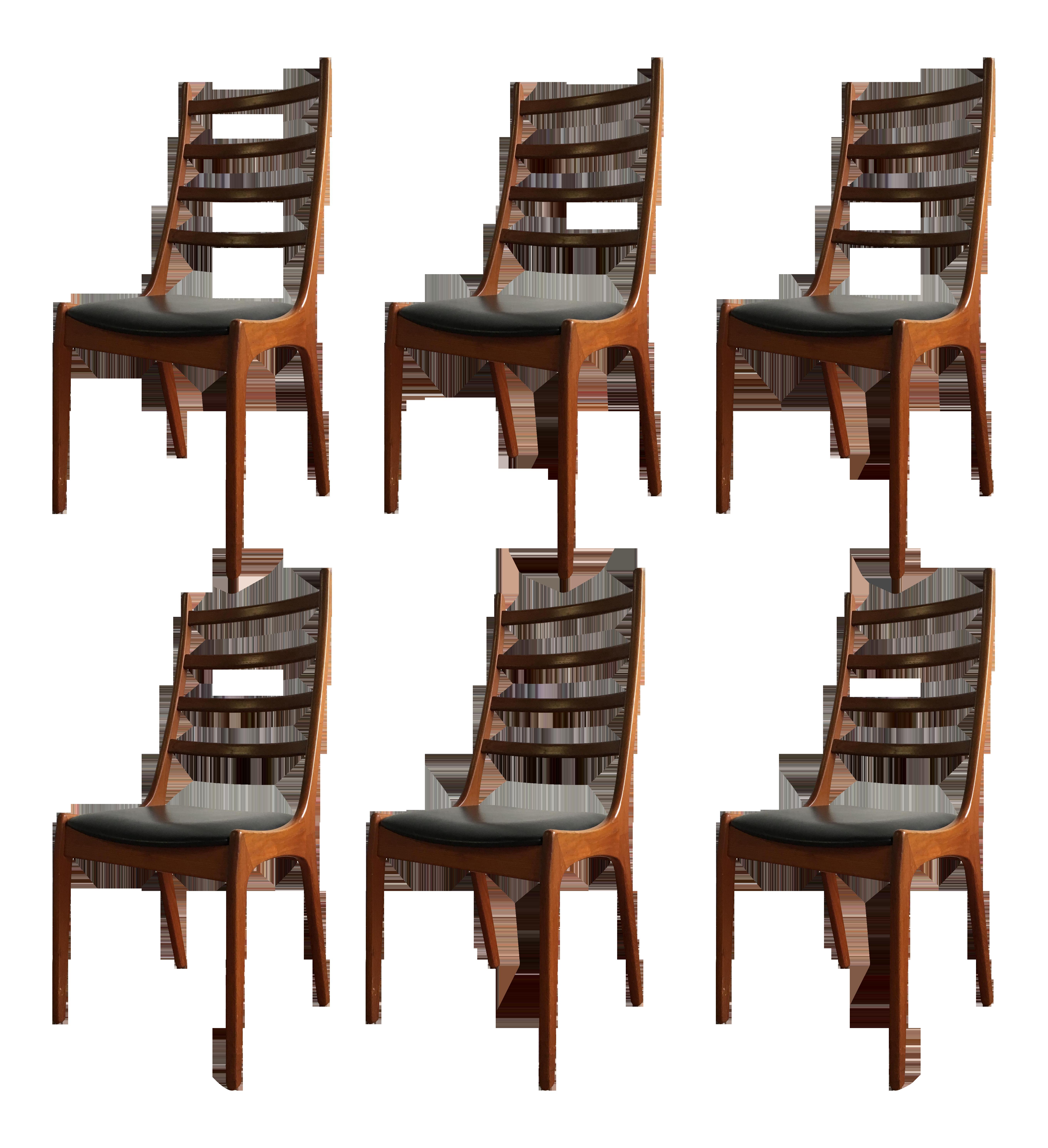 kai kristiansen ladder back dining chairs set of 6 chairish