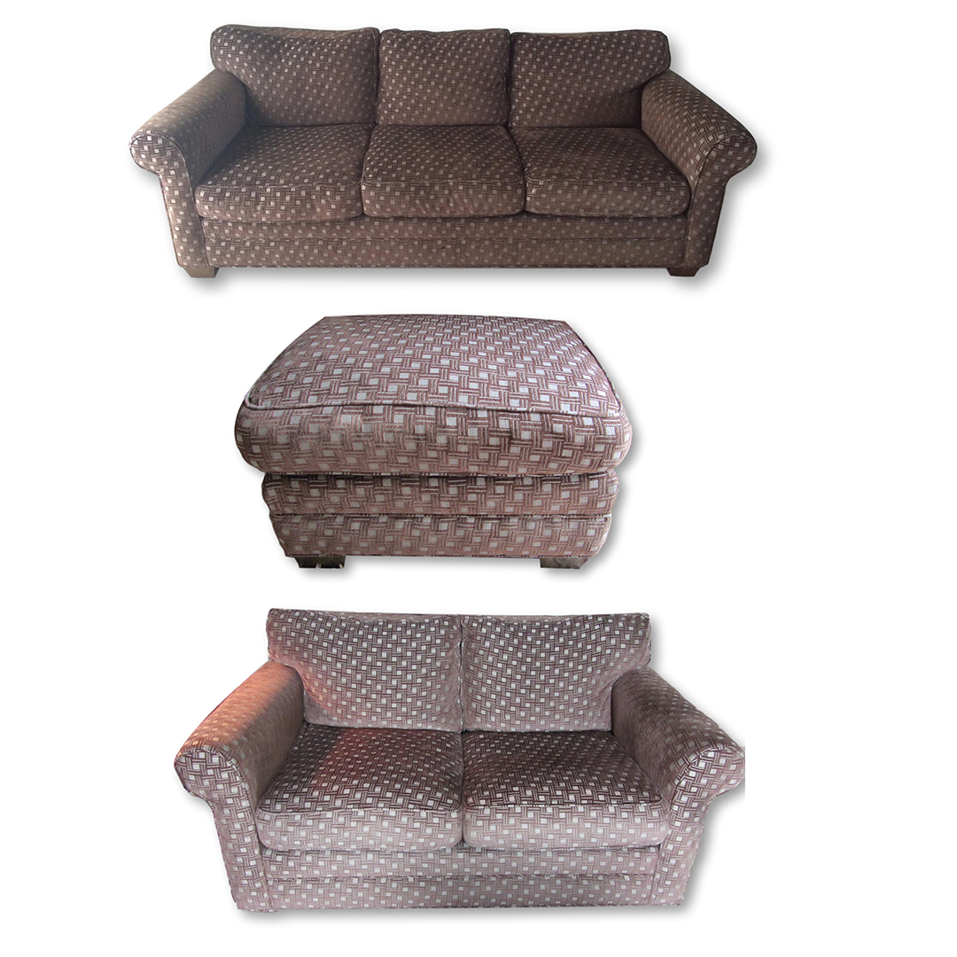 Chenille basketweave sofa loveseat ottoman chairish Chenille sofa and loveseat
