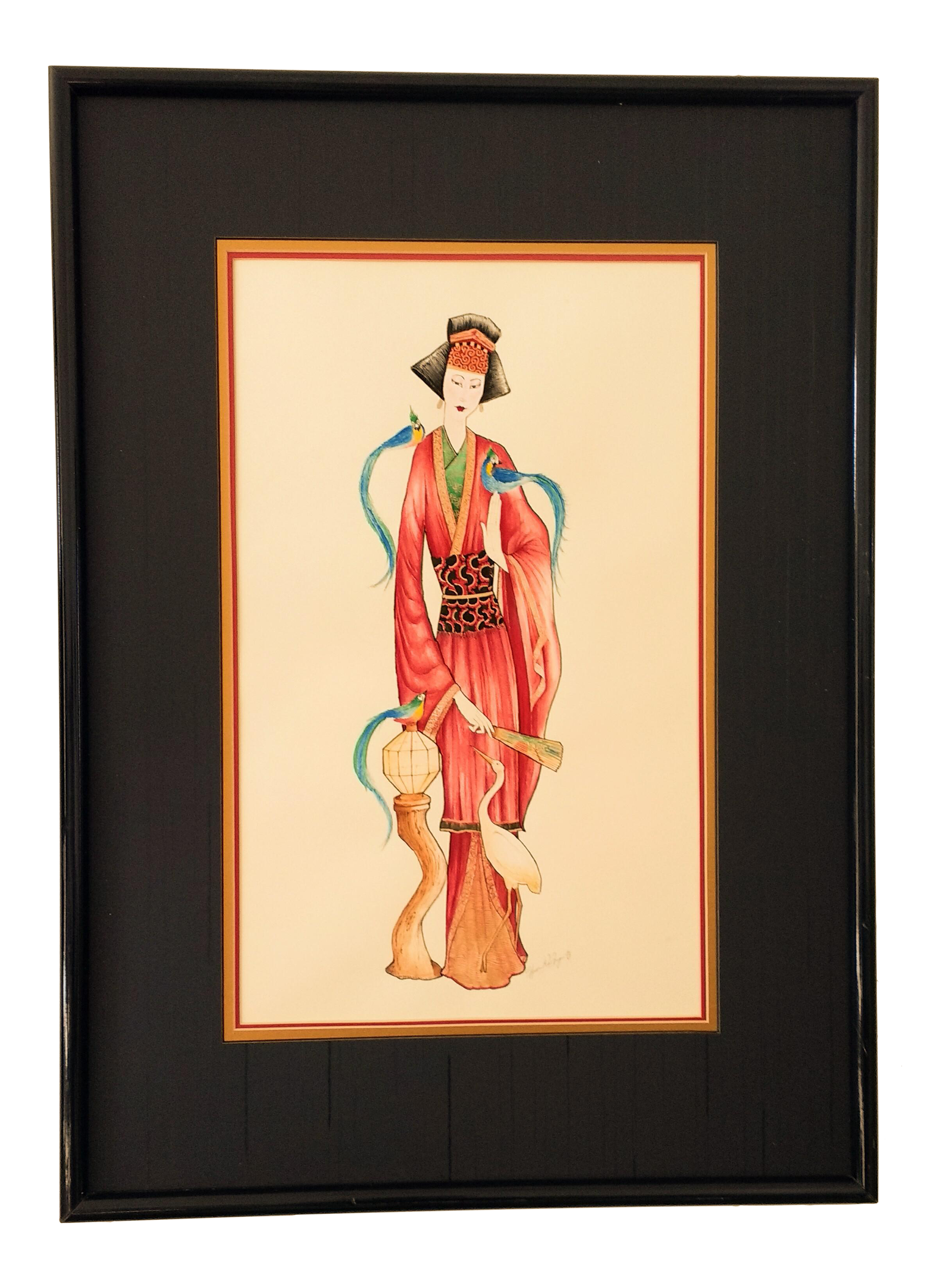 Vintage Signed Geisha Painting Chairish