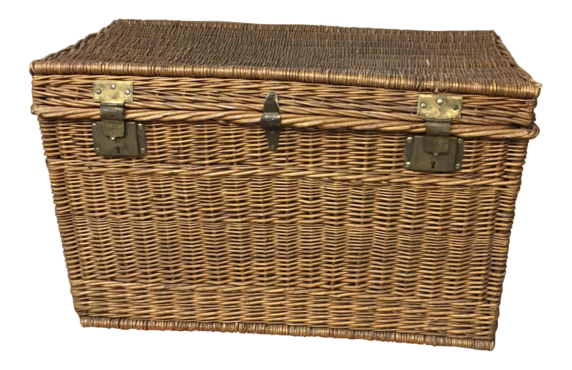 Vintage used trunks chairish vintage wicker trunk geotapseo Image collections