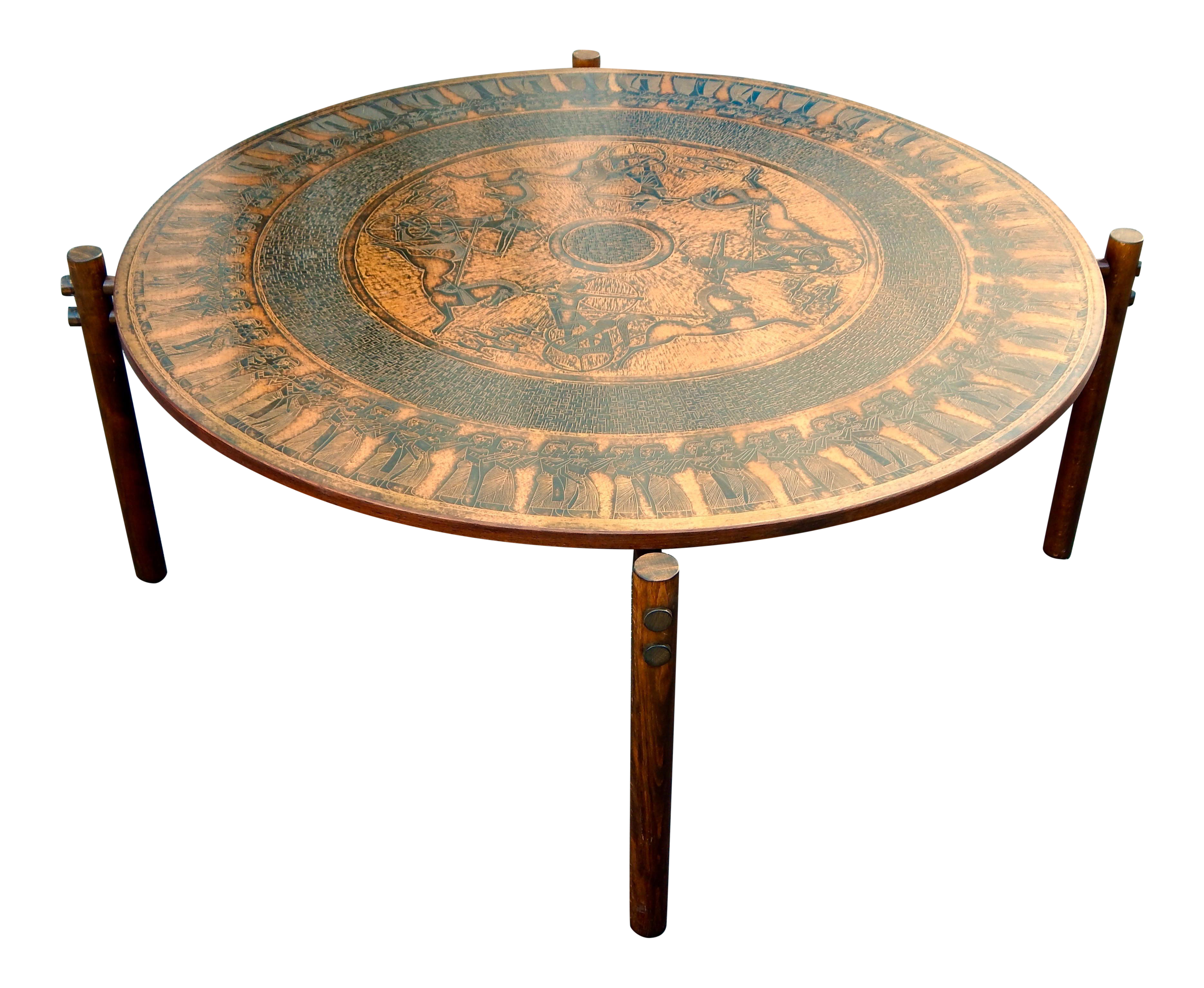 Sophisticated Stamped Copper Egyptian Theme Coffee Table Norway