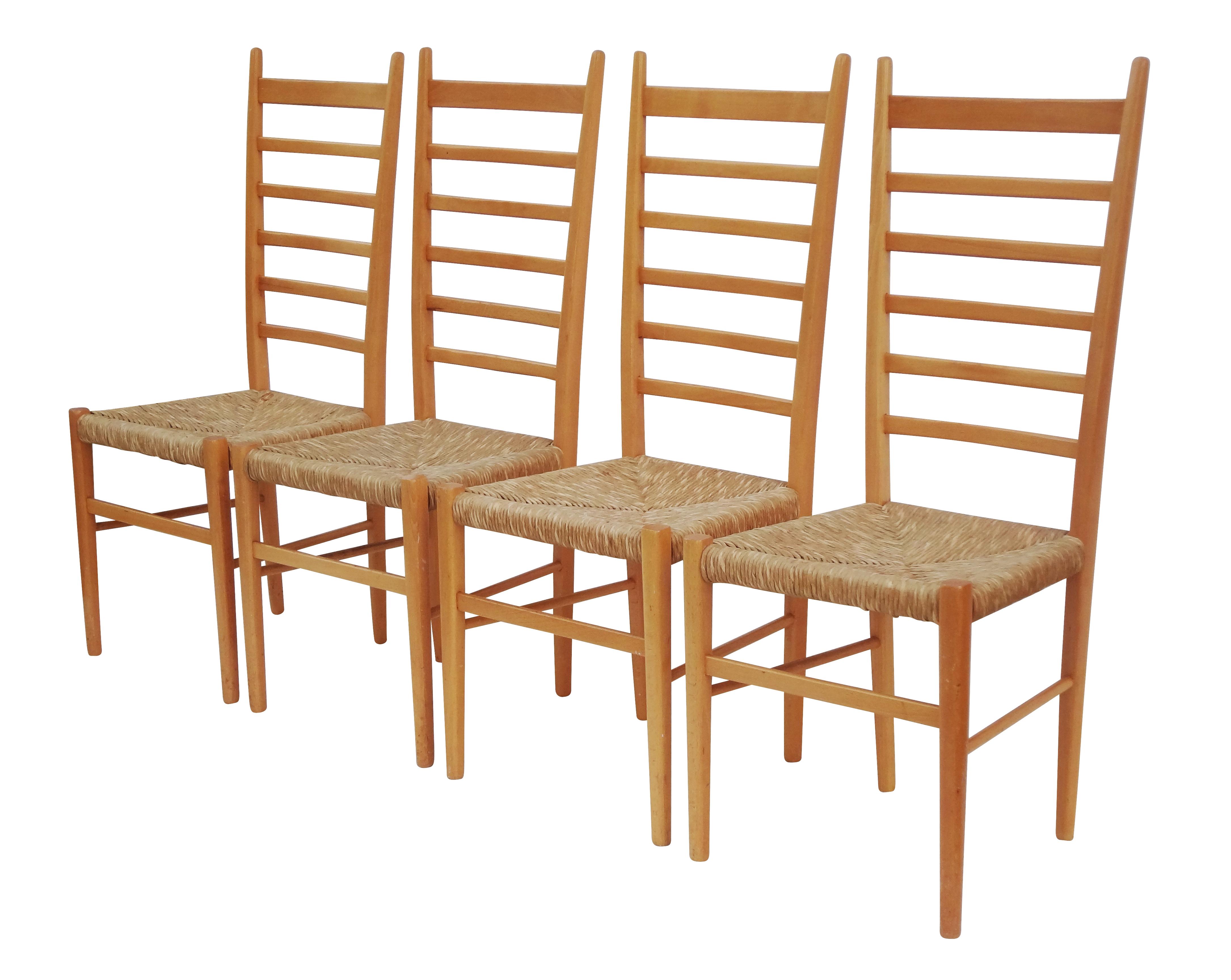 1960s italian ladder back dining chairs set of 4 chairish