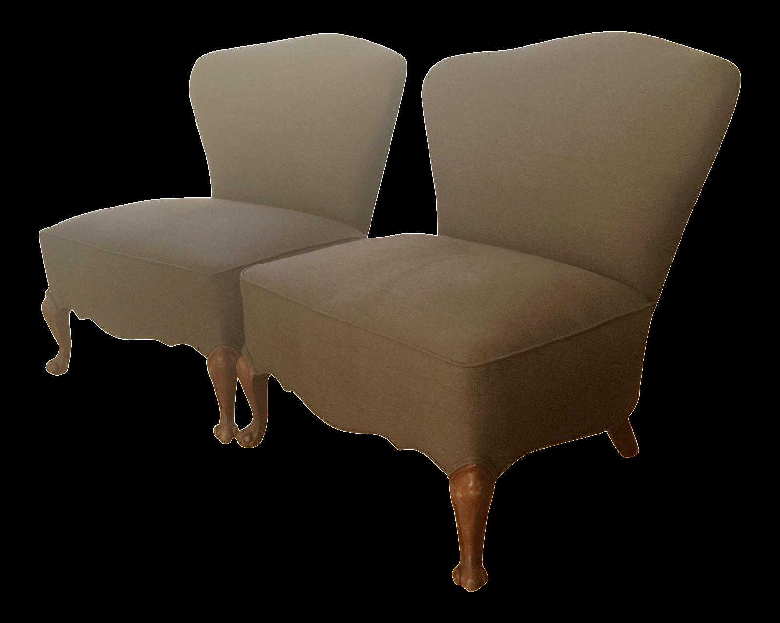 Vintage Slipper Chairs A Pair