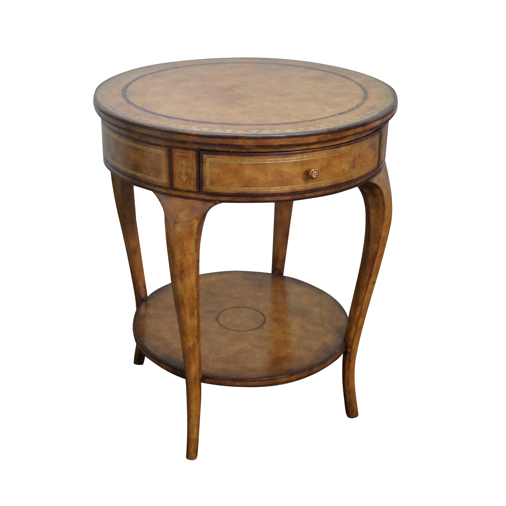 Maitland Smith Tooled Leather 1 Drawer Side Table Chairish