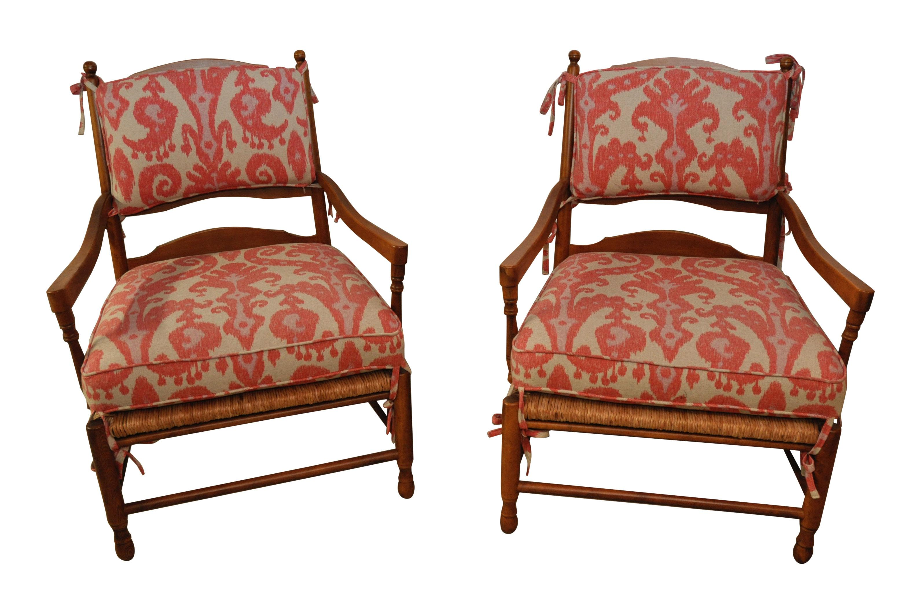 Ikat French Ladderback Cushioned Rush Seat Chairs A Pair