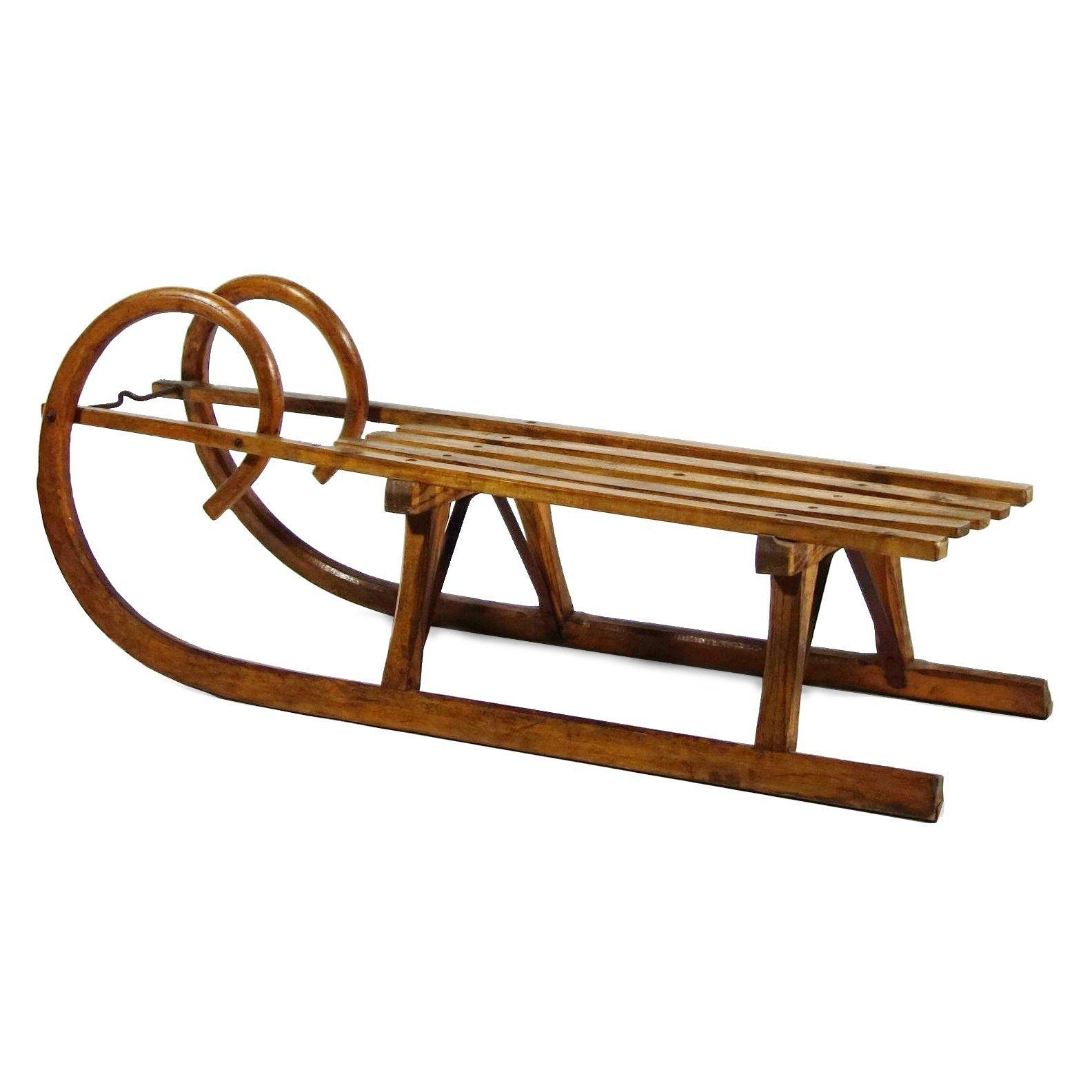 Vintage wooden sled coffee table chairish geotapseo Images