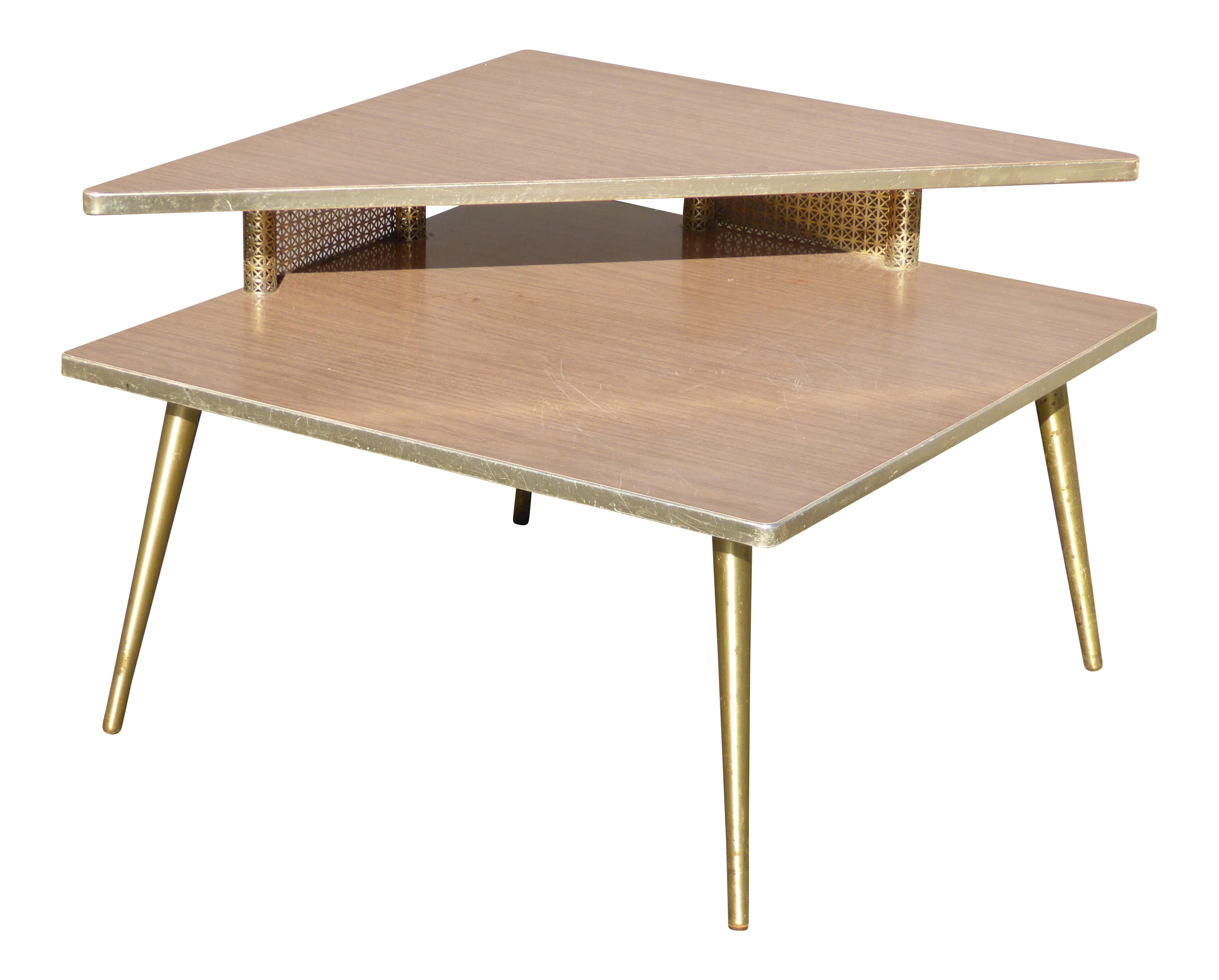 Mid Century Modern Retro Corner Table End Table With Brass Peg