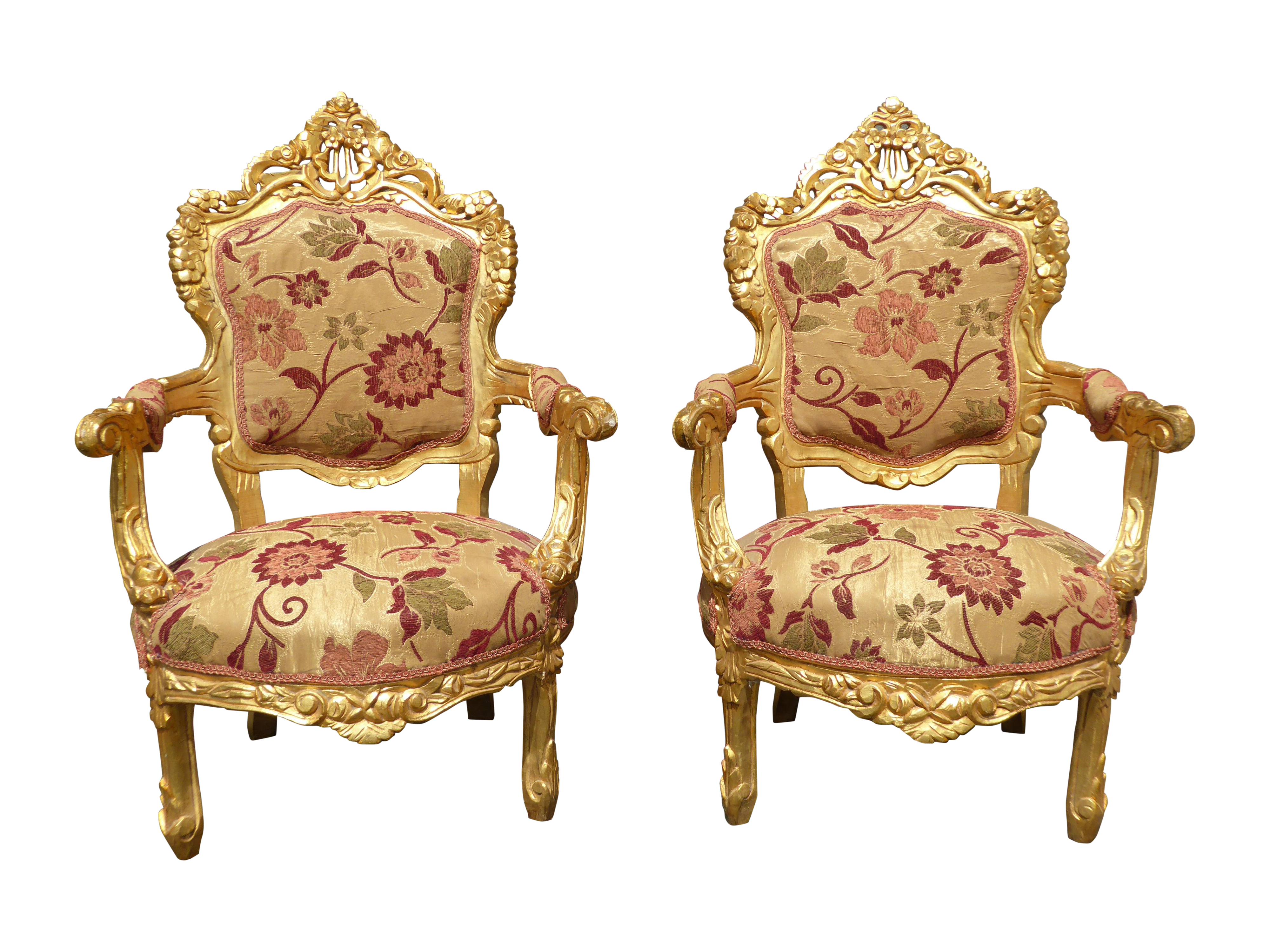 French Provincial Rococo Louis XV Gold Chairs 2