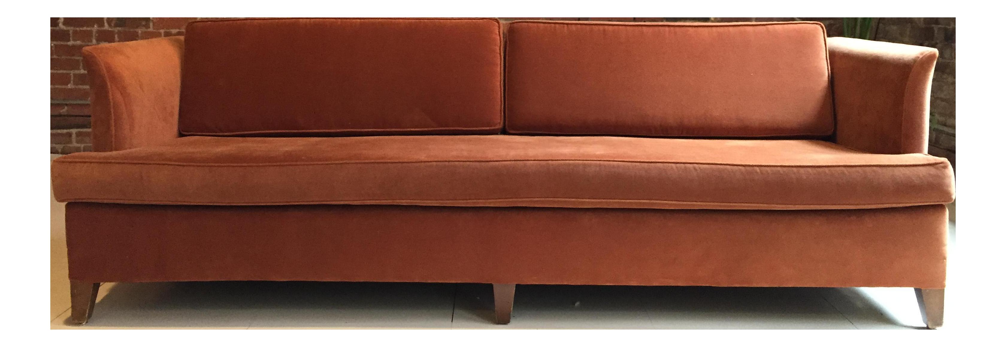 Mid Century Burnt Orange Tuxedo Sofa