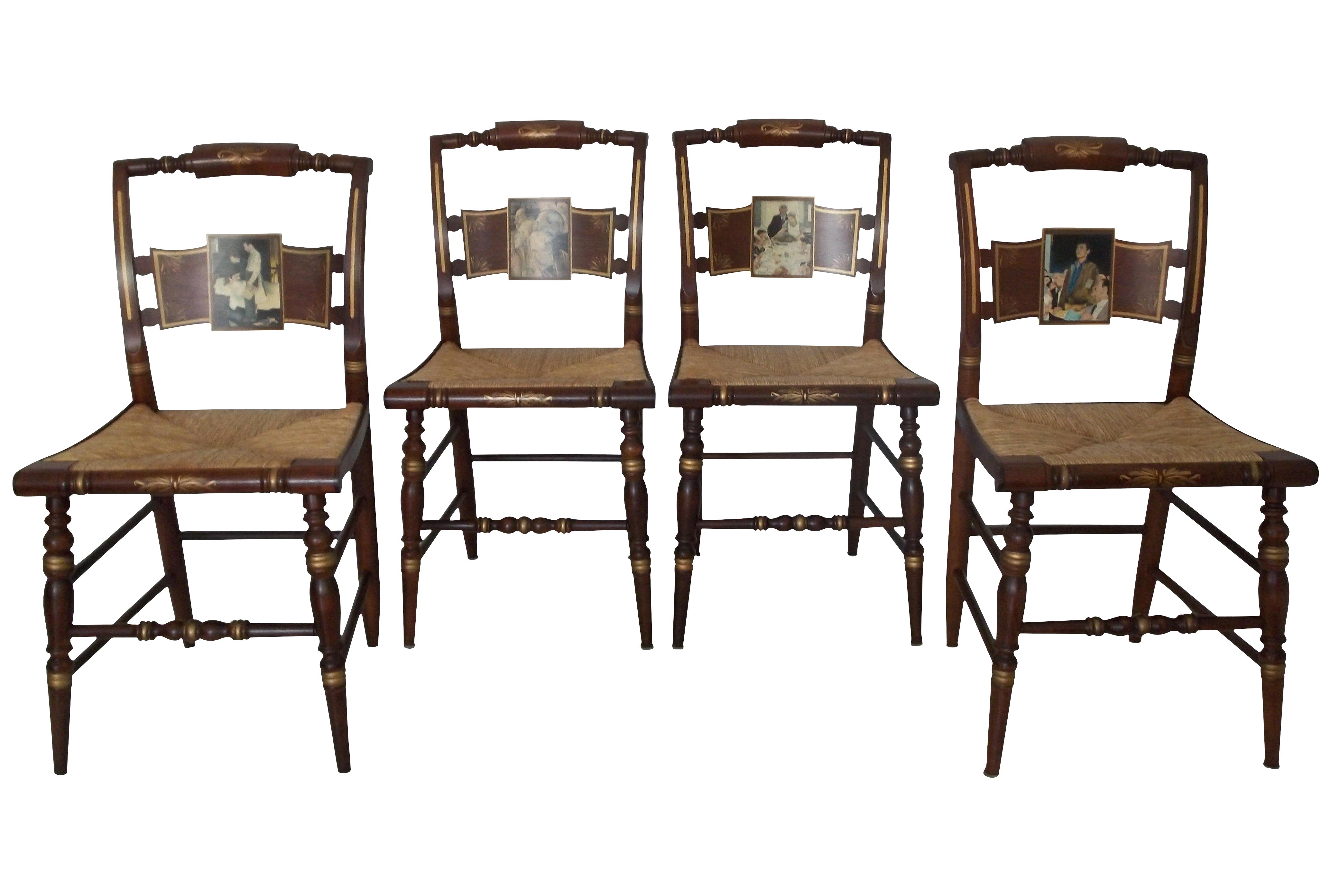 Set of Hitchcock Norman Rockwell Four Freedoms Dining Chairs