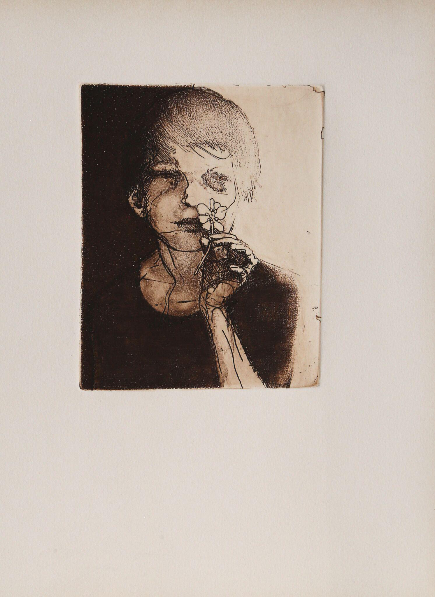 Leonard Baskin Child With Flower 11 Etching