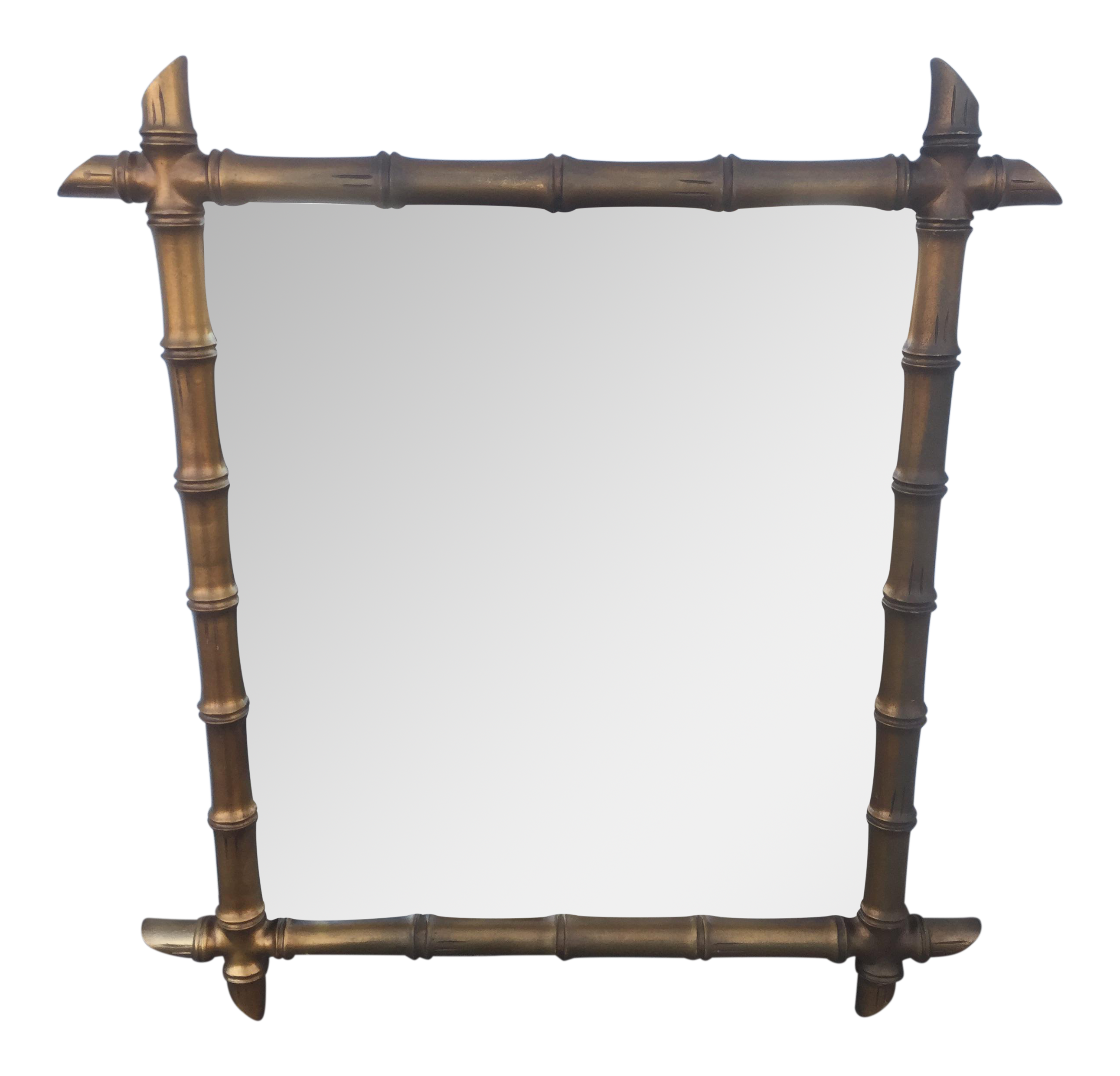 Hollywood Regency Style Gold Faux Bamboo Mirror Chairish