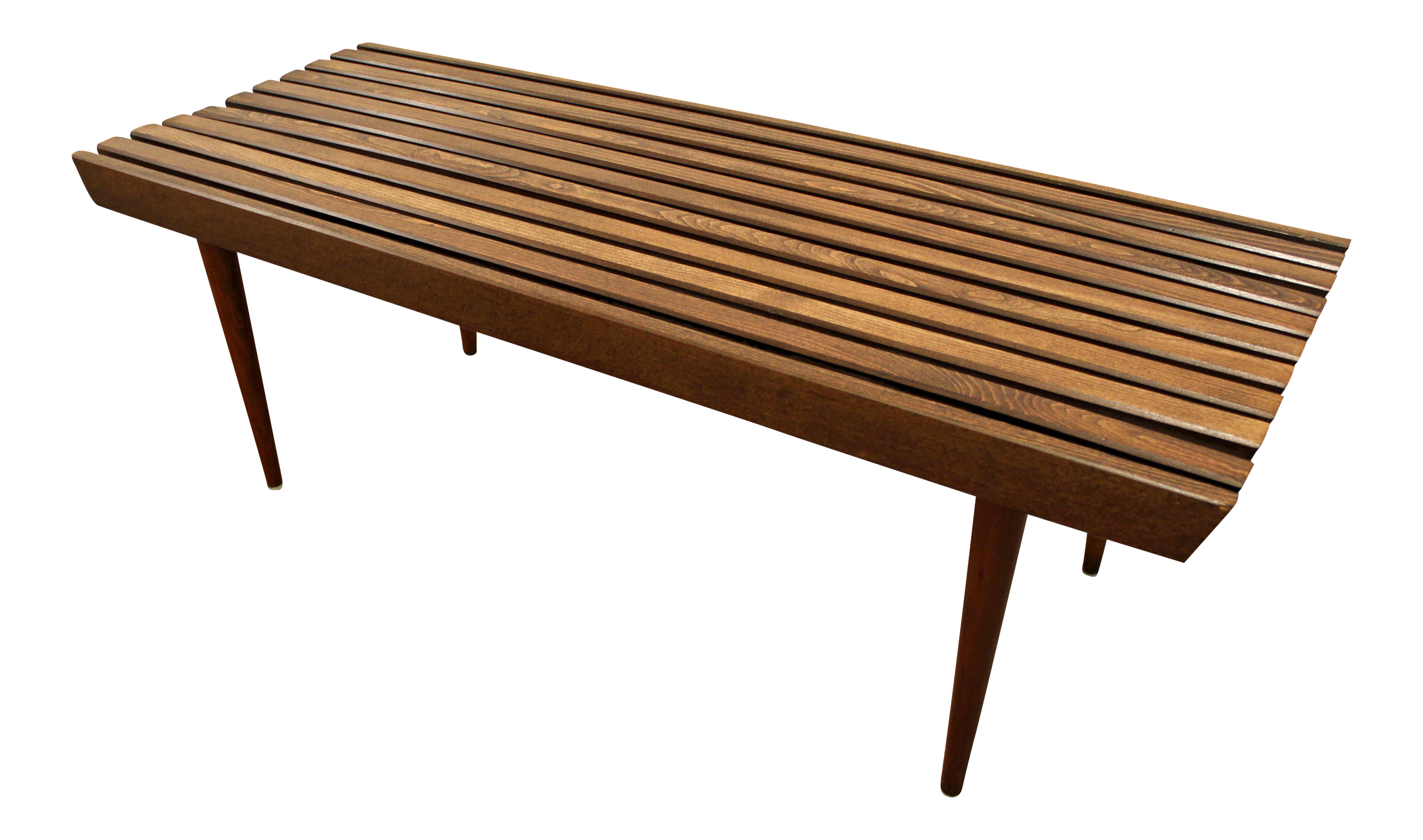 Mid Century Danish Modern Walnut Slat Bench Coffee Table