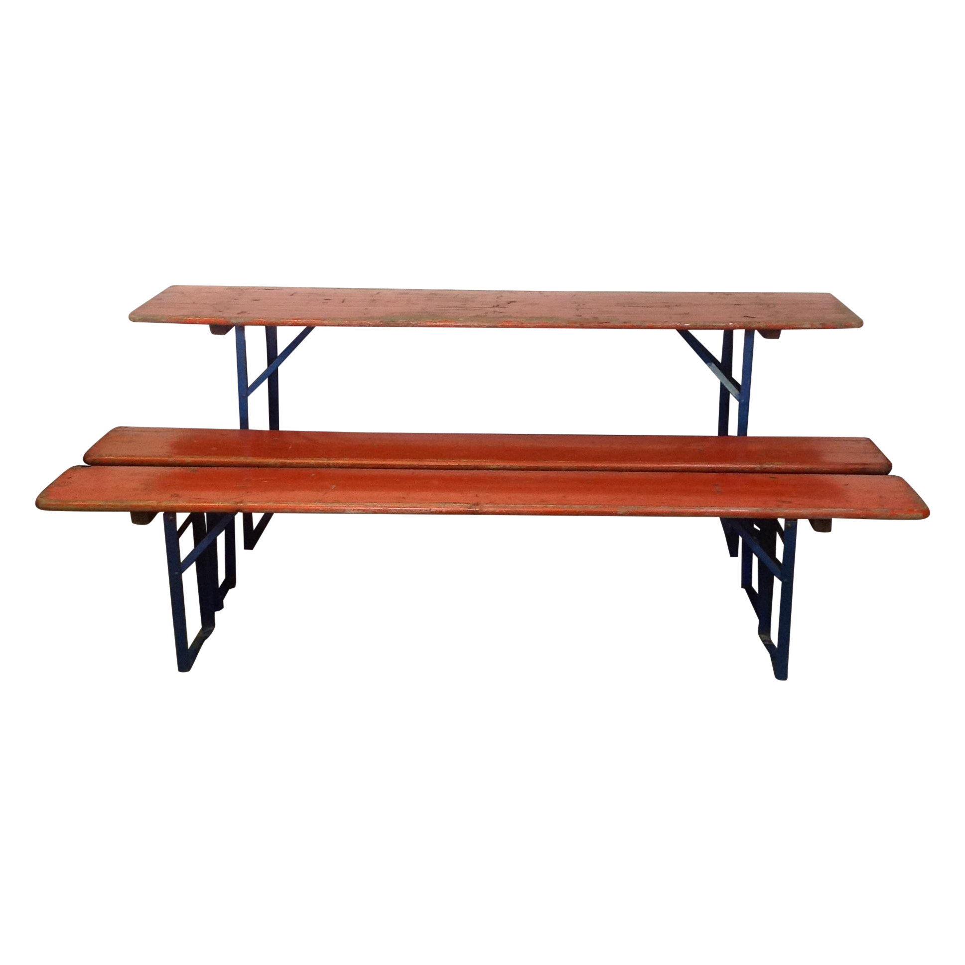 Image of Orange German Beer Garden Table   Benches. Orange German Beer Garden Table   Benches   Chairish