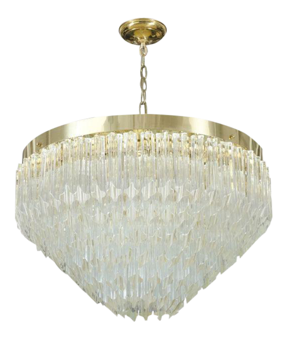 Exquisite Camer Glass Prism Brass Frame Pyramid Chandelier – Brass and Glass Chandelier