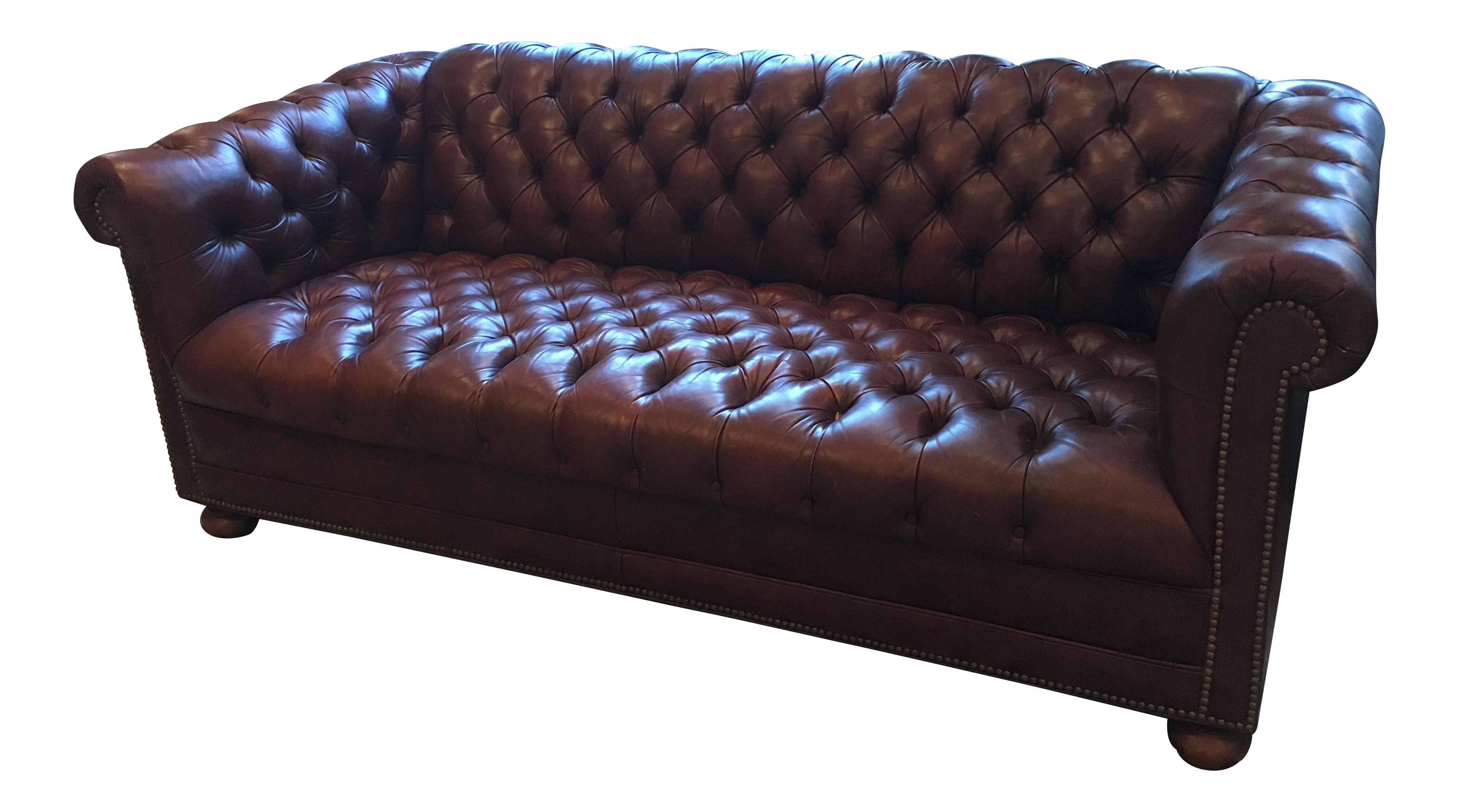 brown leather chesterfield sofa chairish. Black Bedroom Furniture Sets. Home Design Ideas